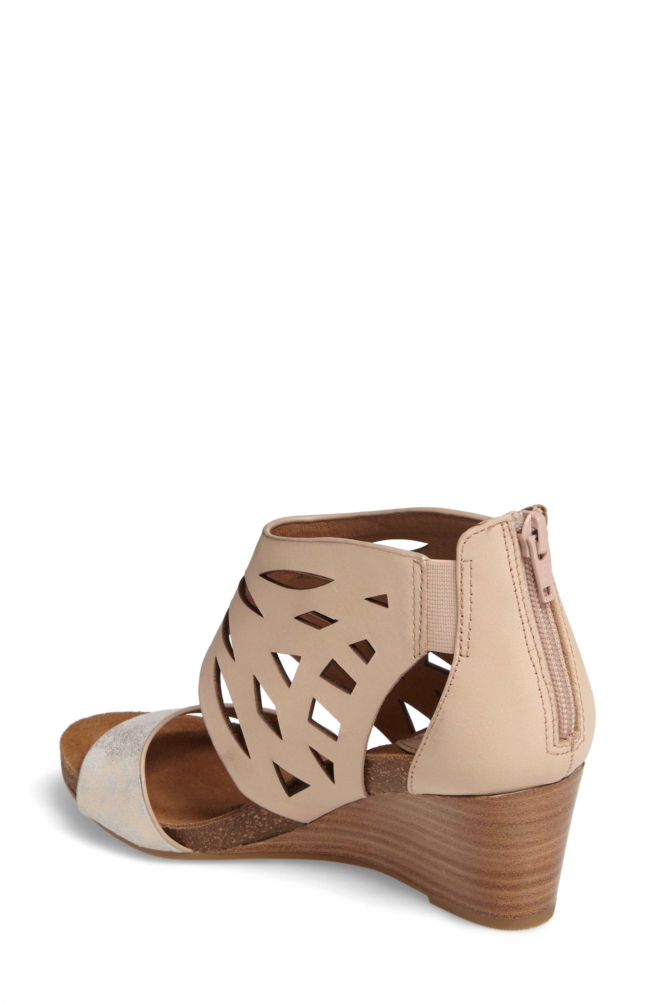 Mystic Perforated Wedge Sandal,                             Alternate thumbnail 2, color,                             Blush/ Ivory Leather