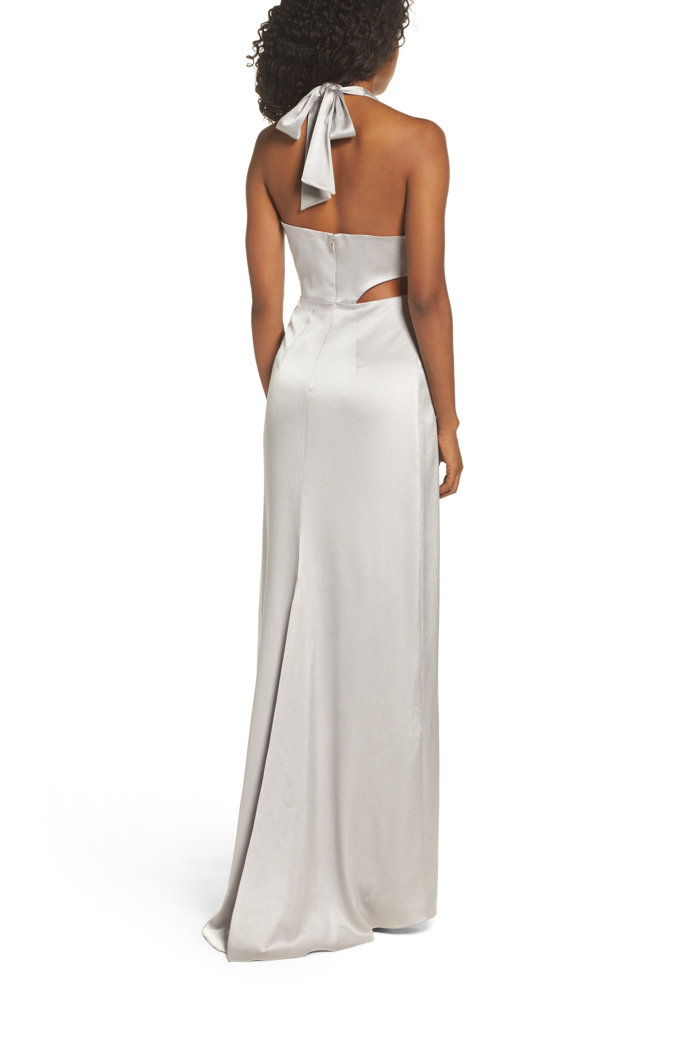 Alternate Image 2  - Halston Heritage V-Neck Draped Satin Gown