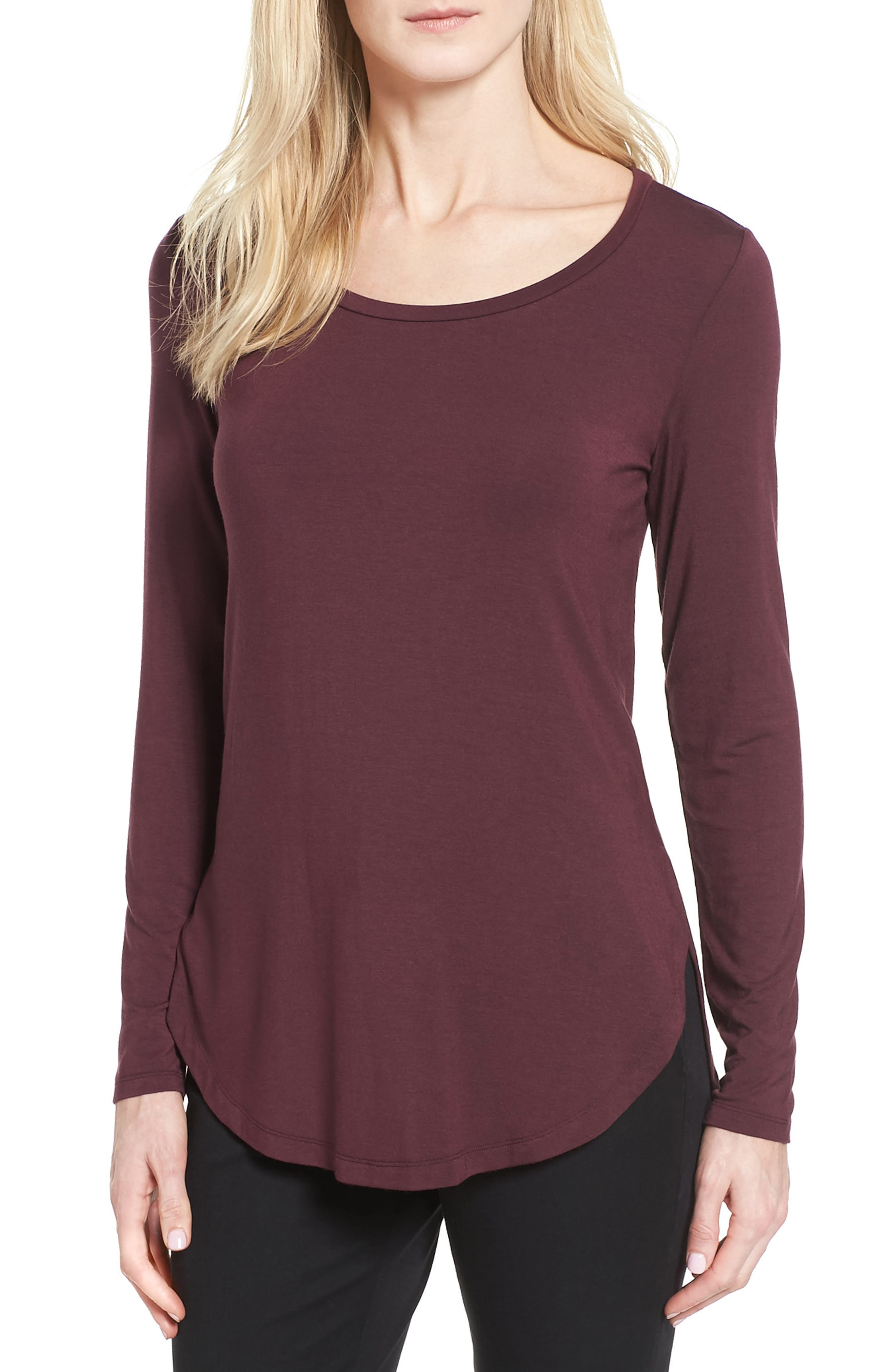 Alternate Image 1 Selected - Halogen® Long Sleeve Knit Tunic (Regular & Petite)