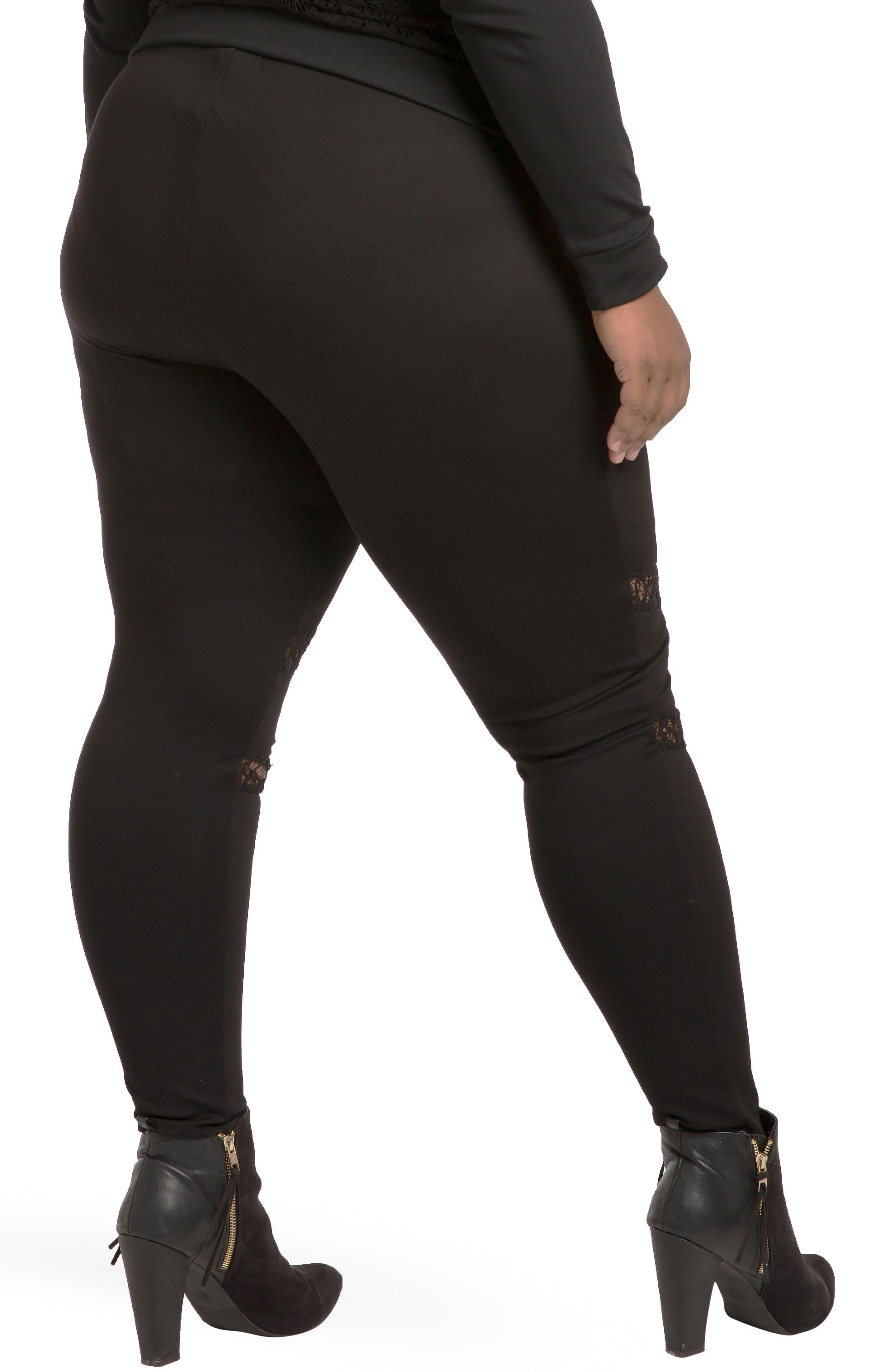 Janet Curvy Fit Leggings,                             Alternate thumbnail 4, color,                             Black