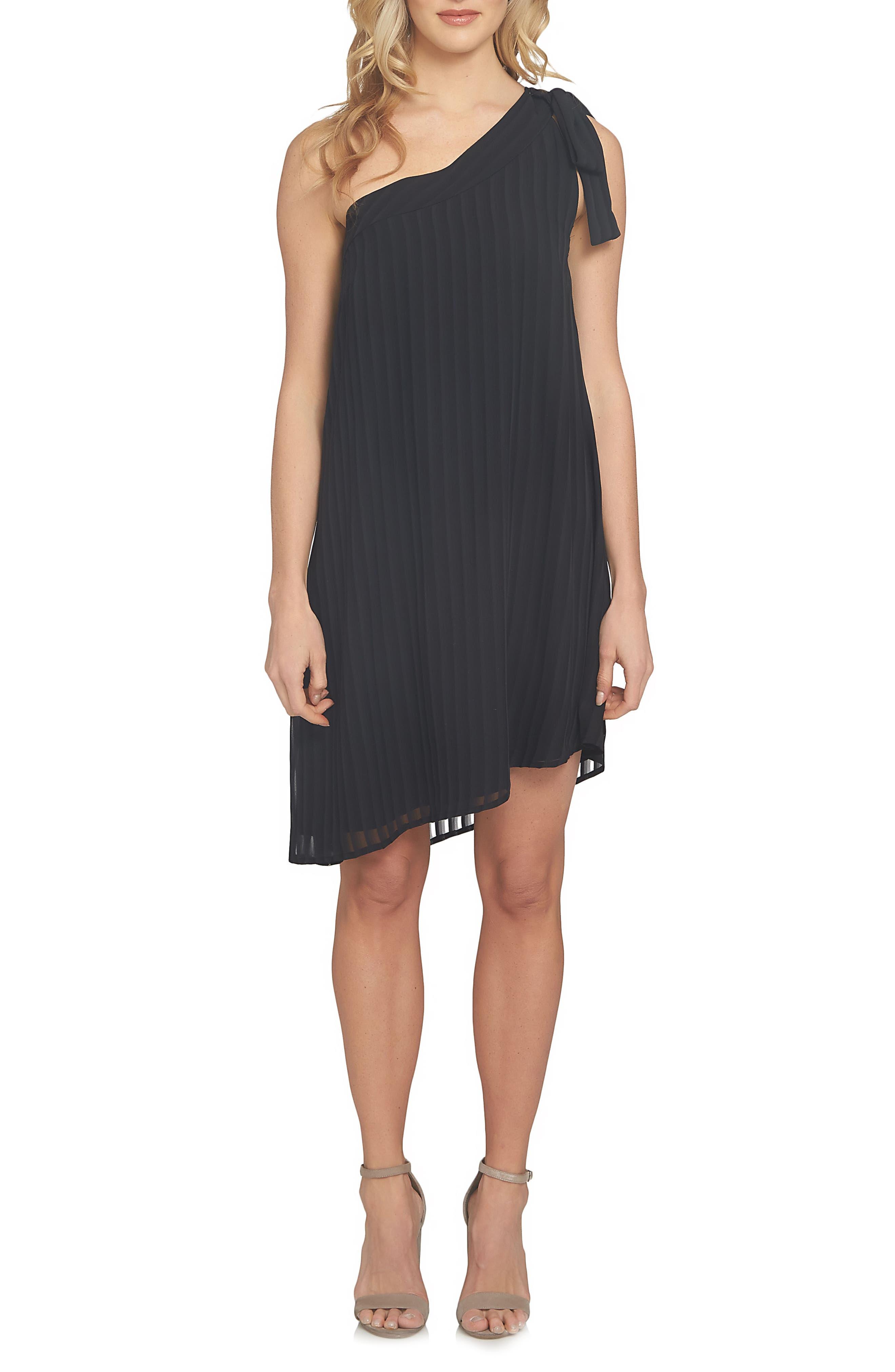 Adela Assymetrical Chiffon Dress,                         Main,                         color, Rich Black