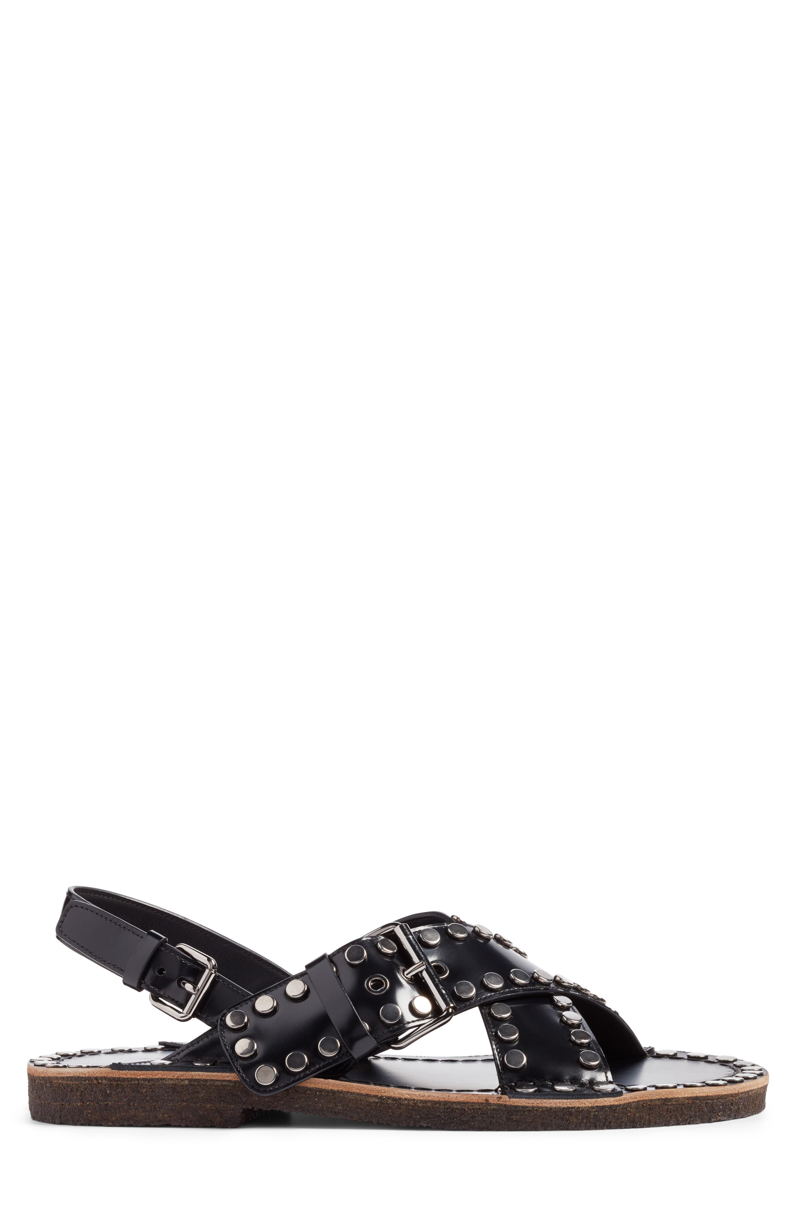 Crisscross Sandal,                             Alternate thumbnail 3, color,                             Nero Leather