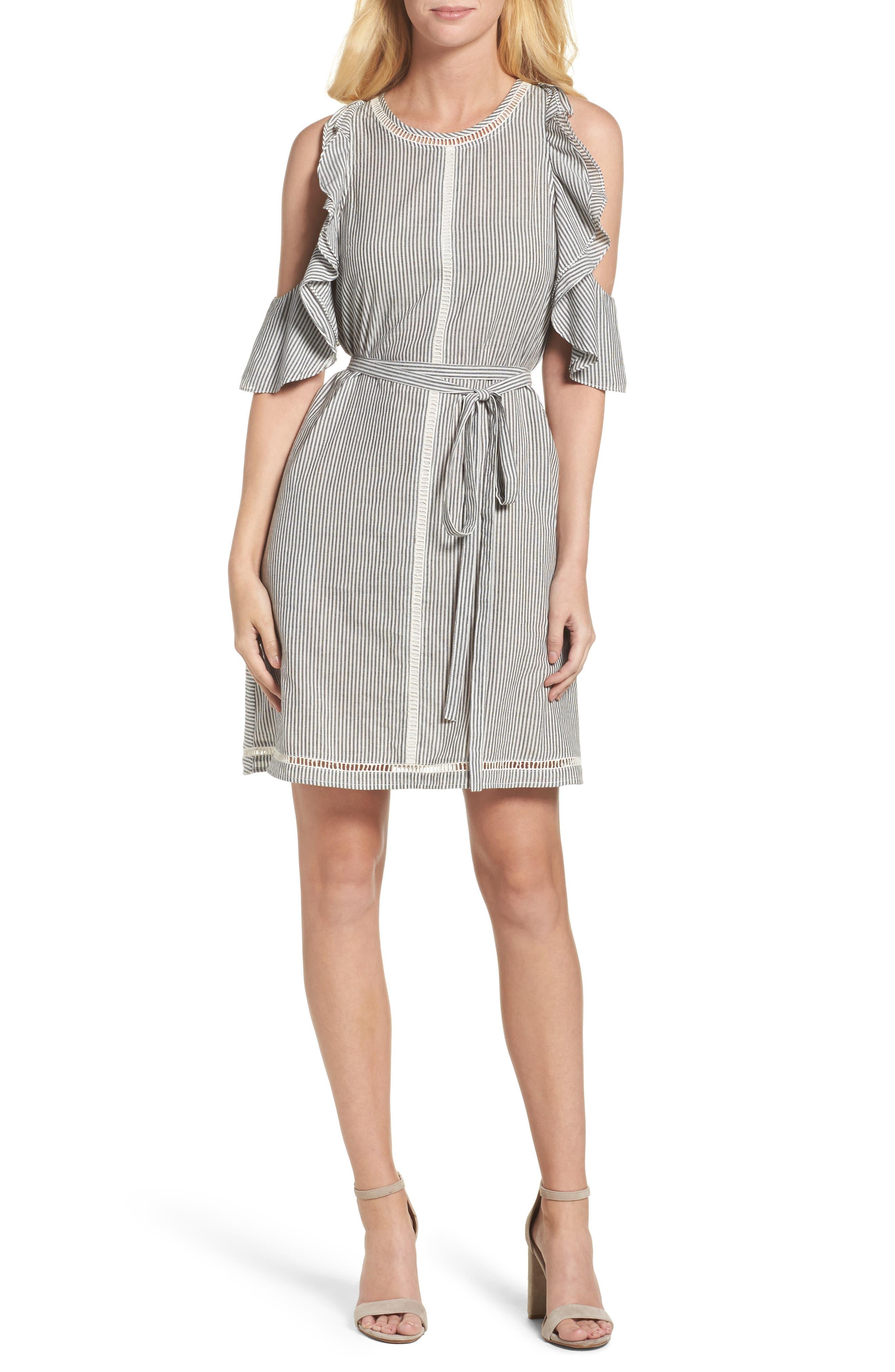 Clea Cold Shoulder Dress,                             Main thumbnail 1, color,                             Black/ White