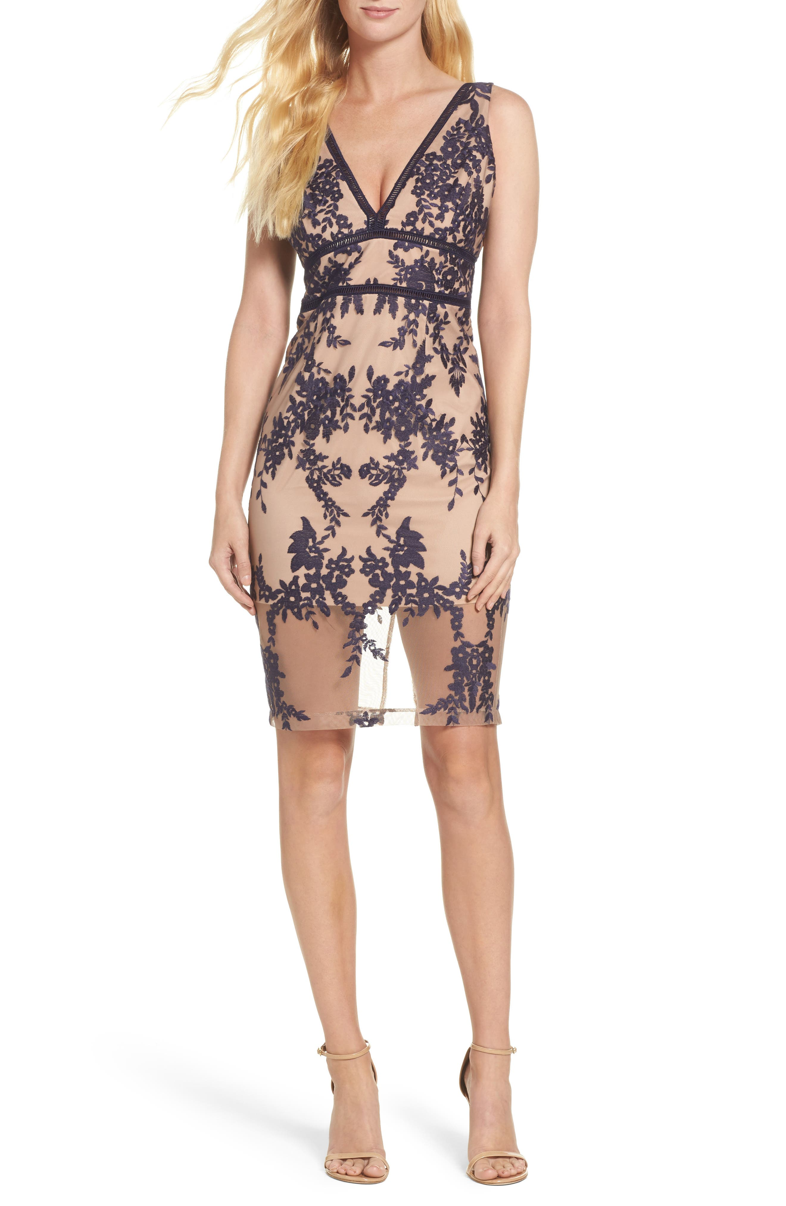 Flora Embroidered Sheath Dress,                         Main,                         color, French Navy