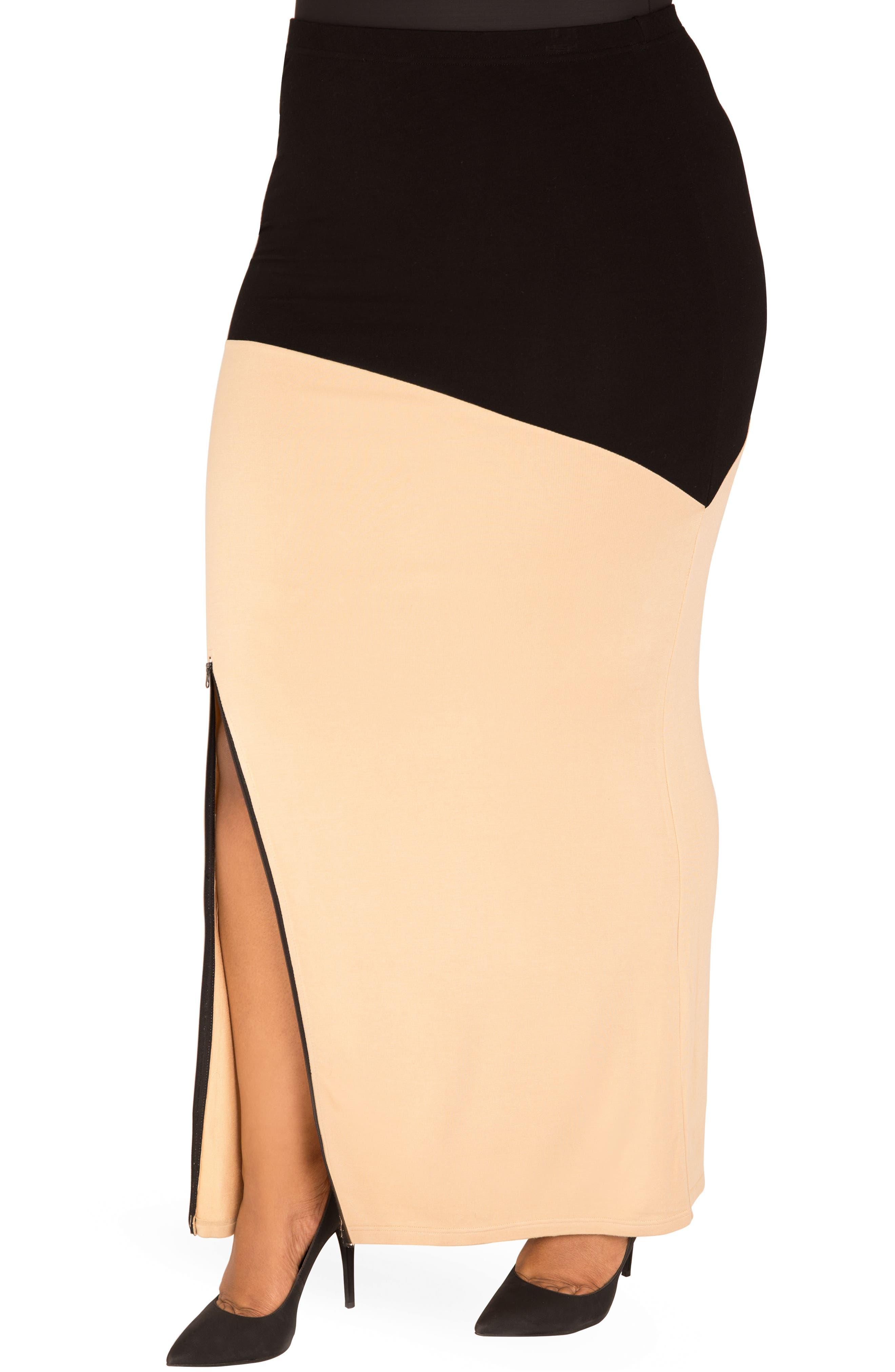 Alternate Image 4  - Poetic Justice Kandi Zip Slit Maxi Skirt (Plus Size)