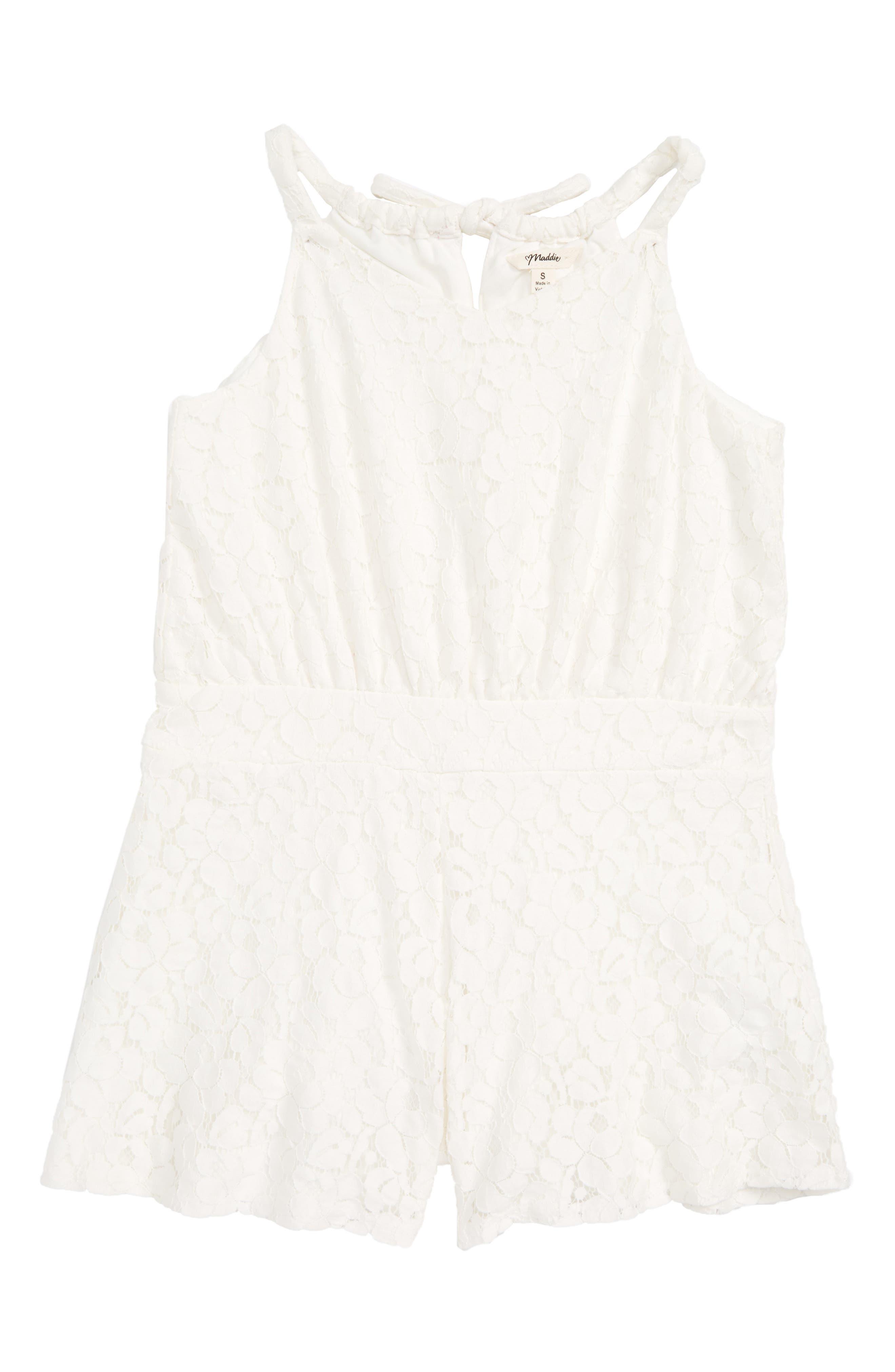 Lace Romper,                         Main,                         color, White