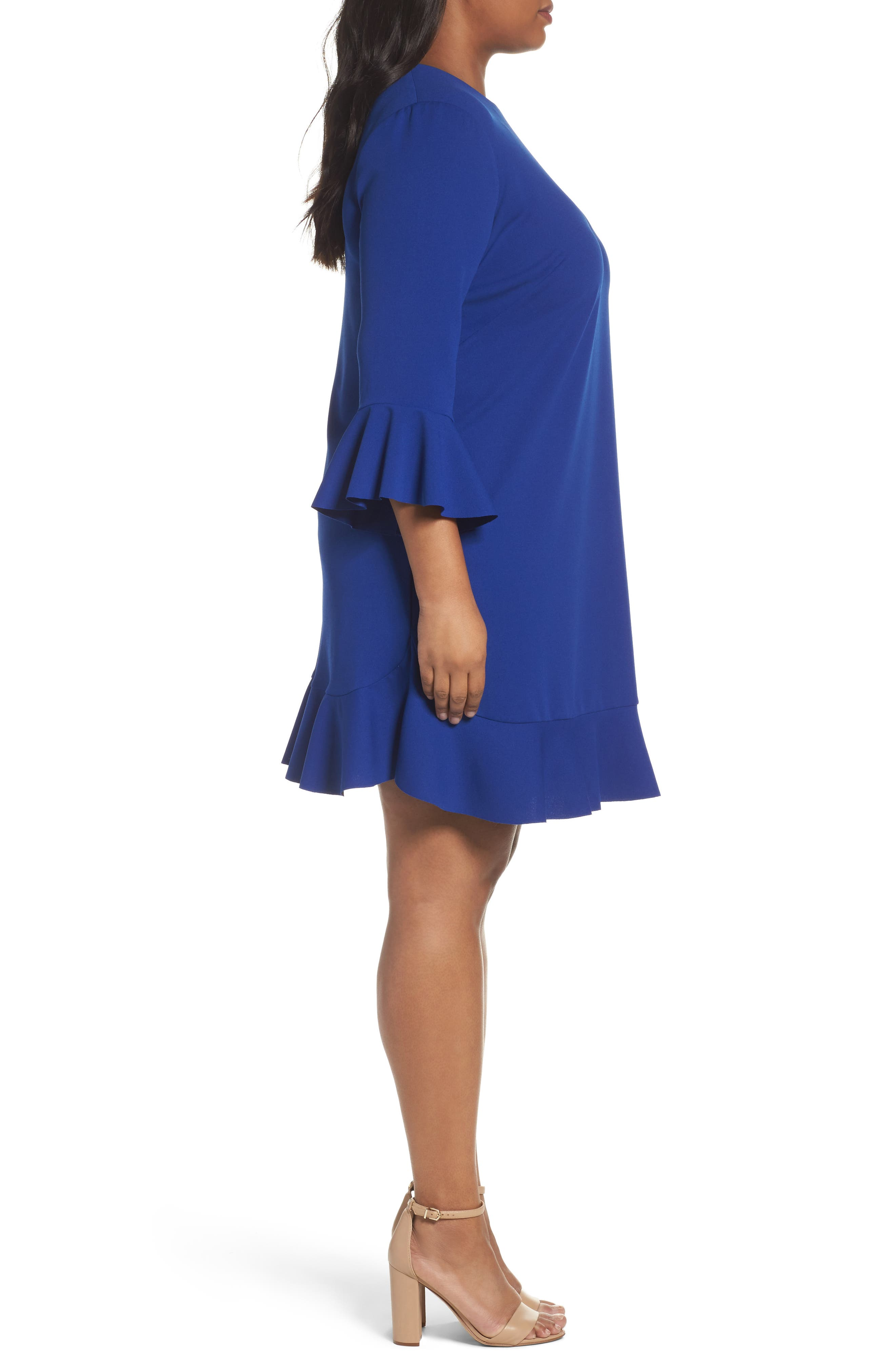 Alternate Image 3  - London Times Bell Sleeve Shift Dress (Plus Size)
