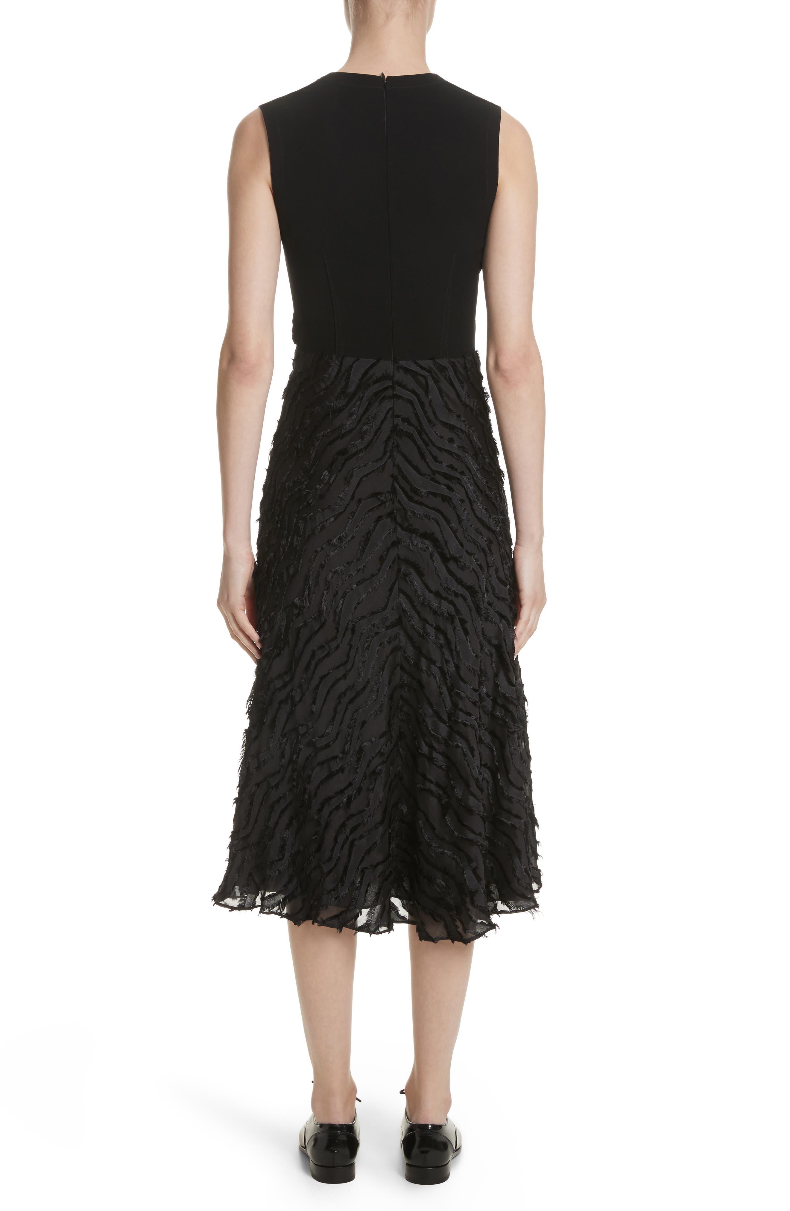 Chevron Fringe Fil Coupé Dress,                             Alternate thumbnail 2, color,                             Black