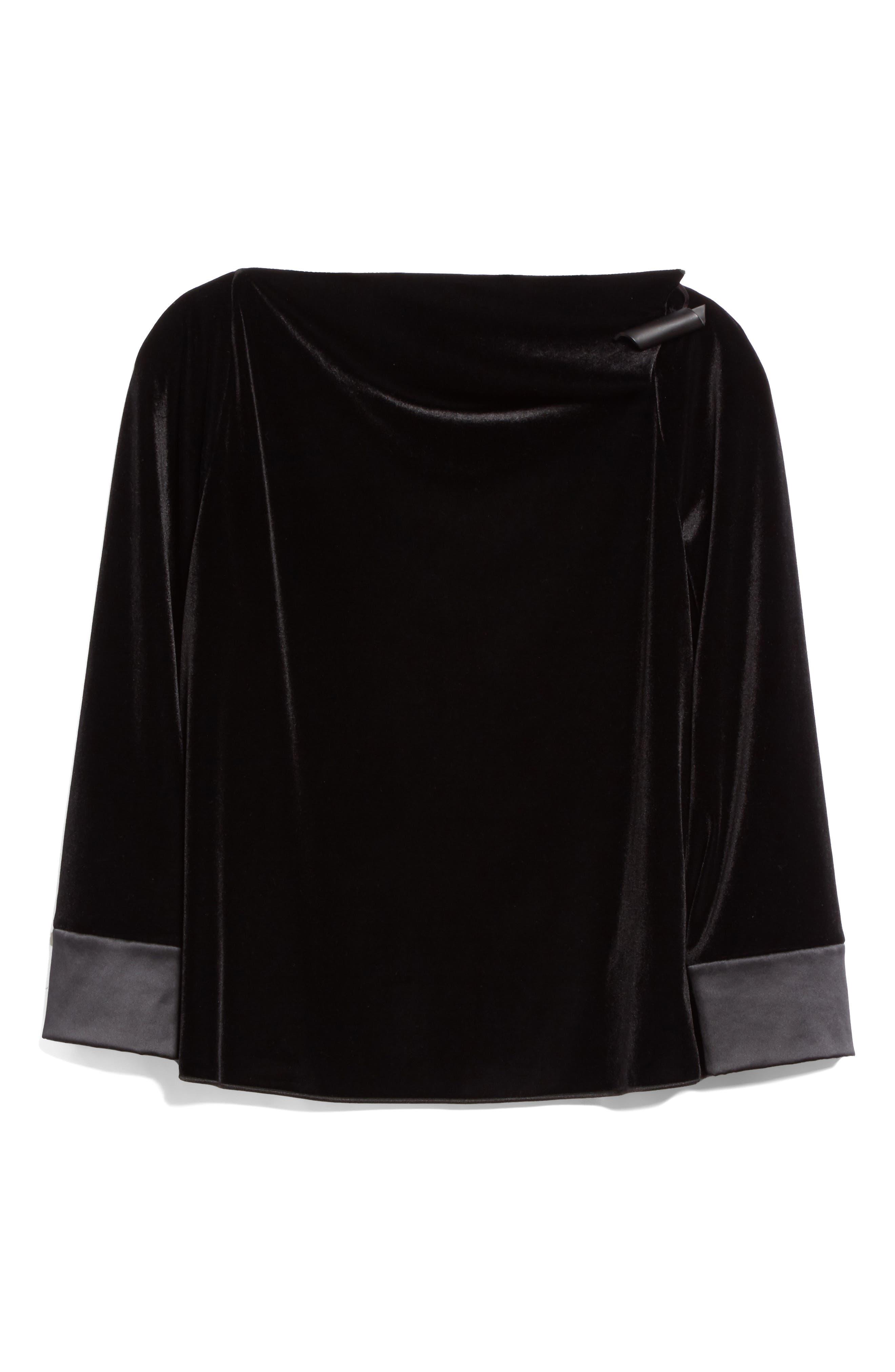 Alternate Image 4  - Armani Collezioni Satin Trim Stretch Velvet Top