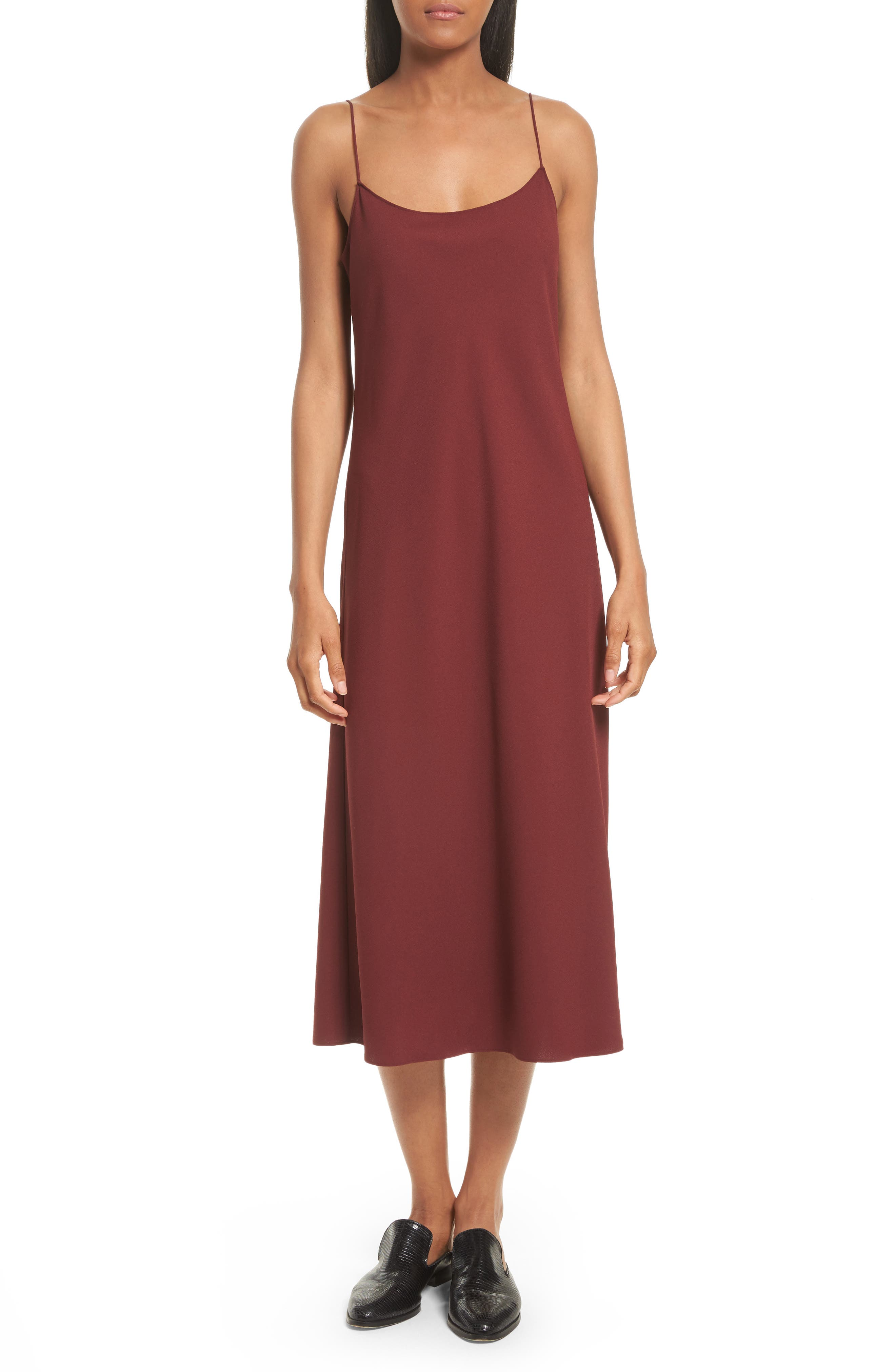 Telson Rosina Crepe Slipdress,                             Main thumbnail 1, color,                             Chili Red