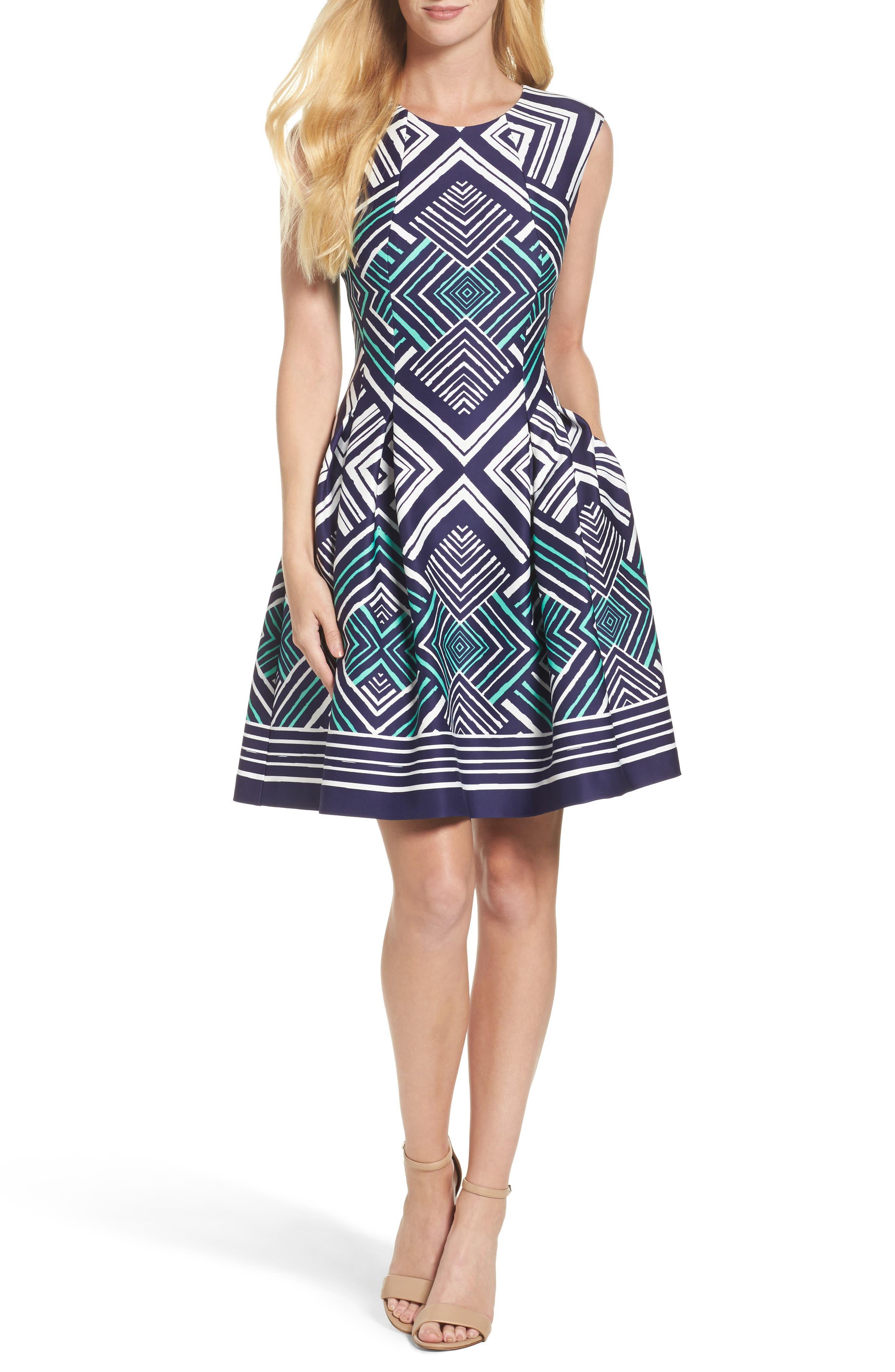 Fit & Flare Dress,                             Main thumbnail 1, color,                             Navy/ Multi