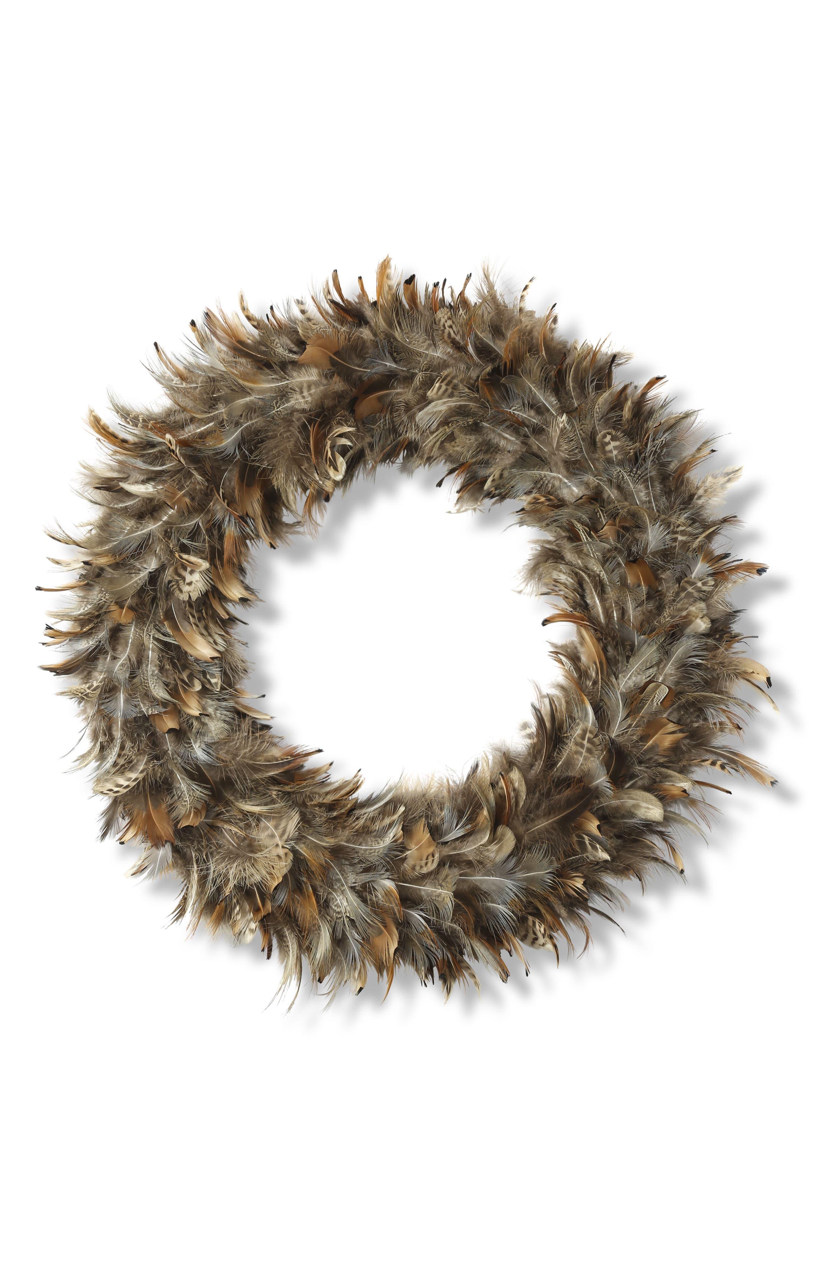 Feather Wreath,                             Main thumbnail 1, color,                             Rust