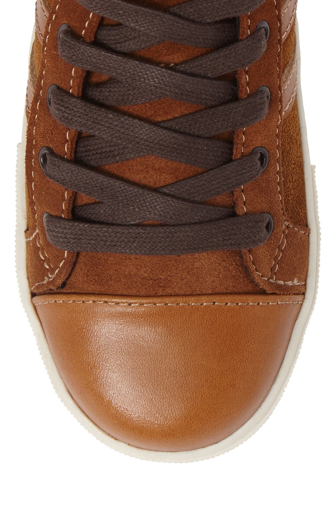 Jay Top High-Top Zip Sneaker,                             Alternate thumbnail 5, color,                             Cognac