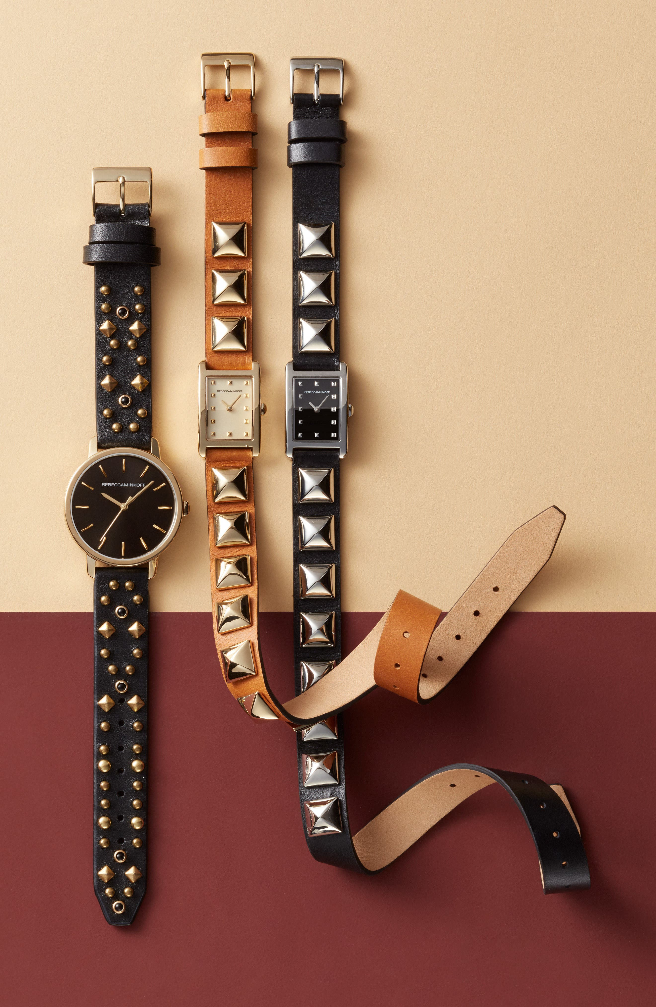 BFFL Studded Leather Strap Watch, 36mm,                             Alternate thumbnail 6, color,
