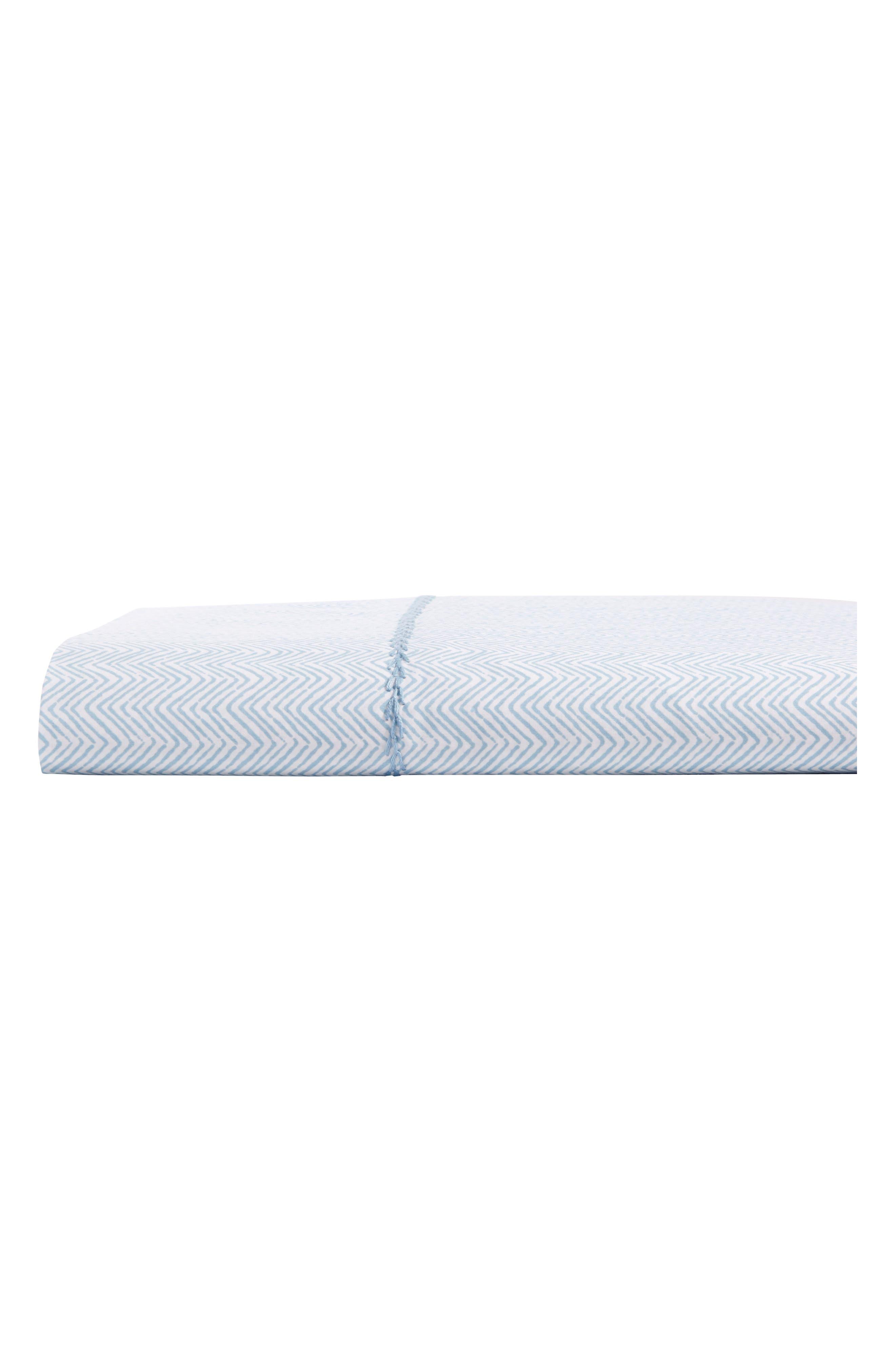 Chevron 400 Thread Count Flat Sheet,                         Main,                         color, Light Indigo White