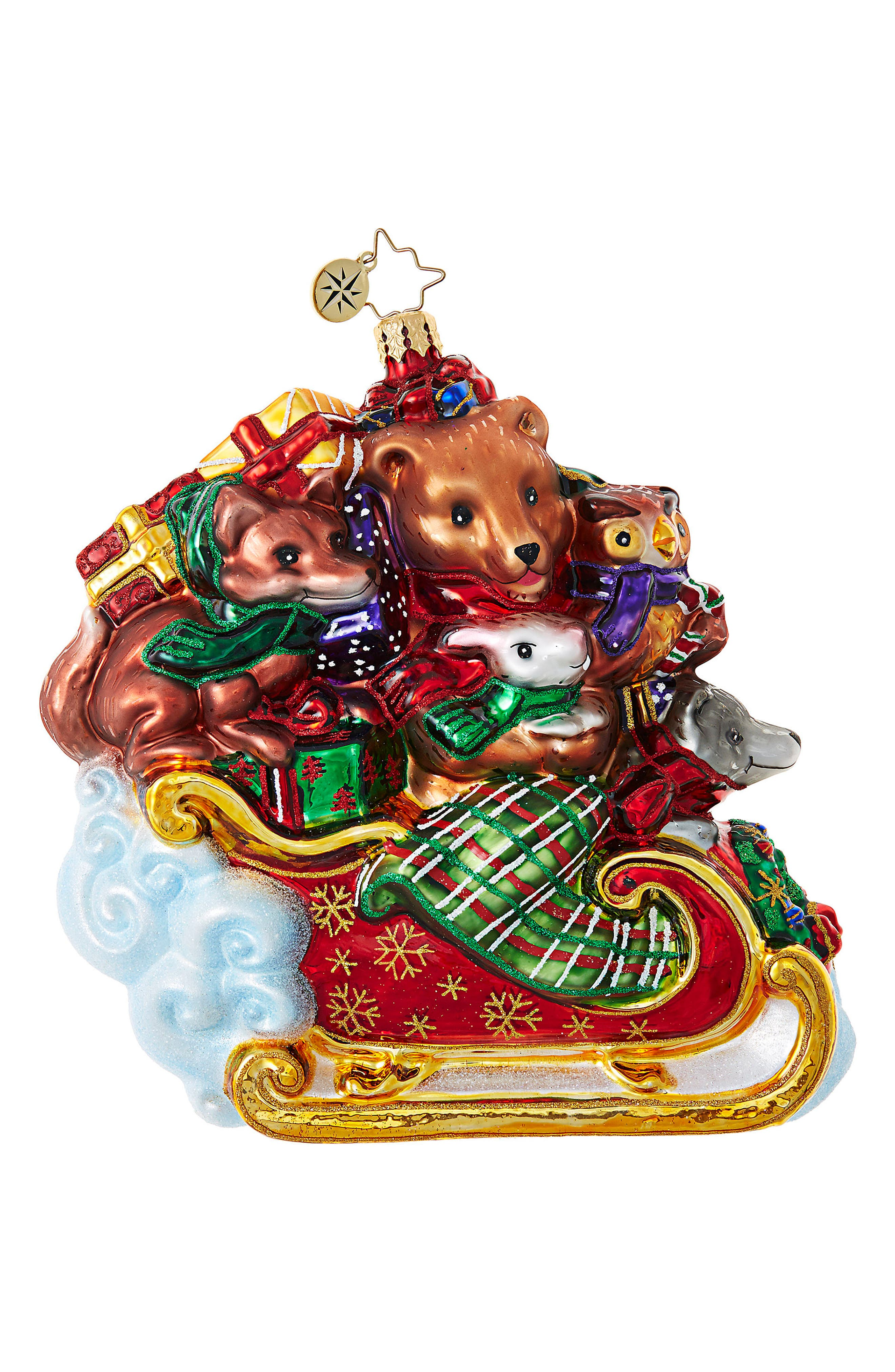 Forest Flyer Glass Ornament,                         Main,                         color, Red/ Multi