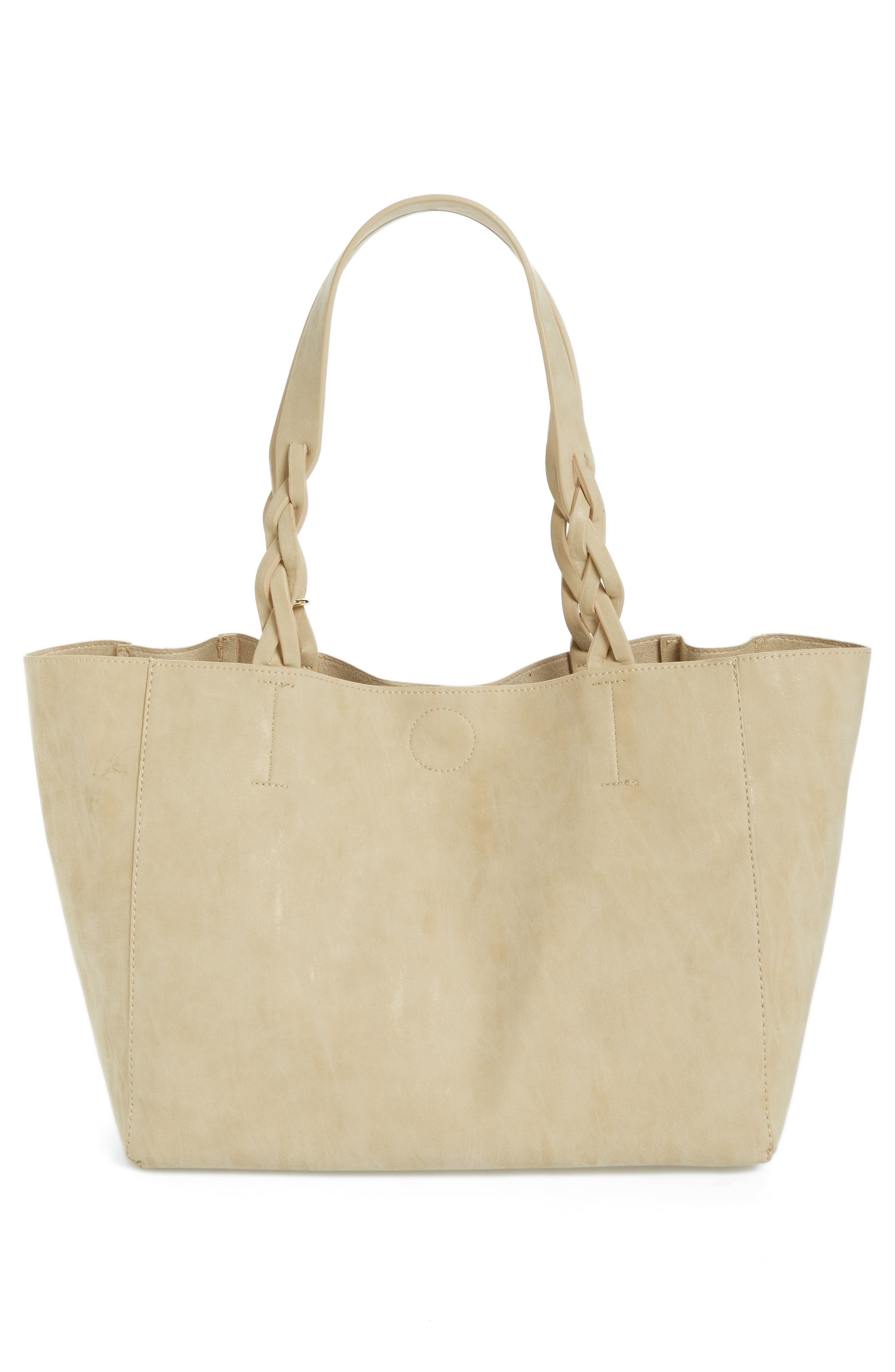 Faux Leather Braided Handle Tote,                             Alternate thumbnail 2, color,                             Beige