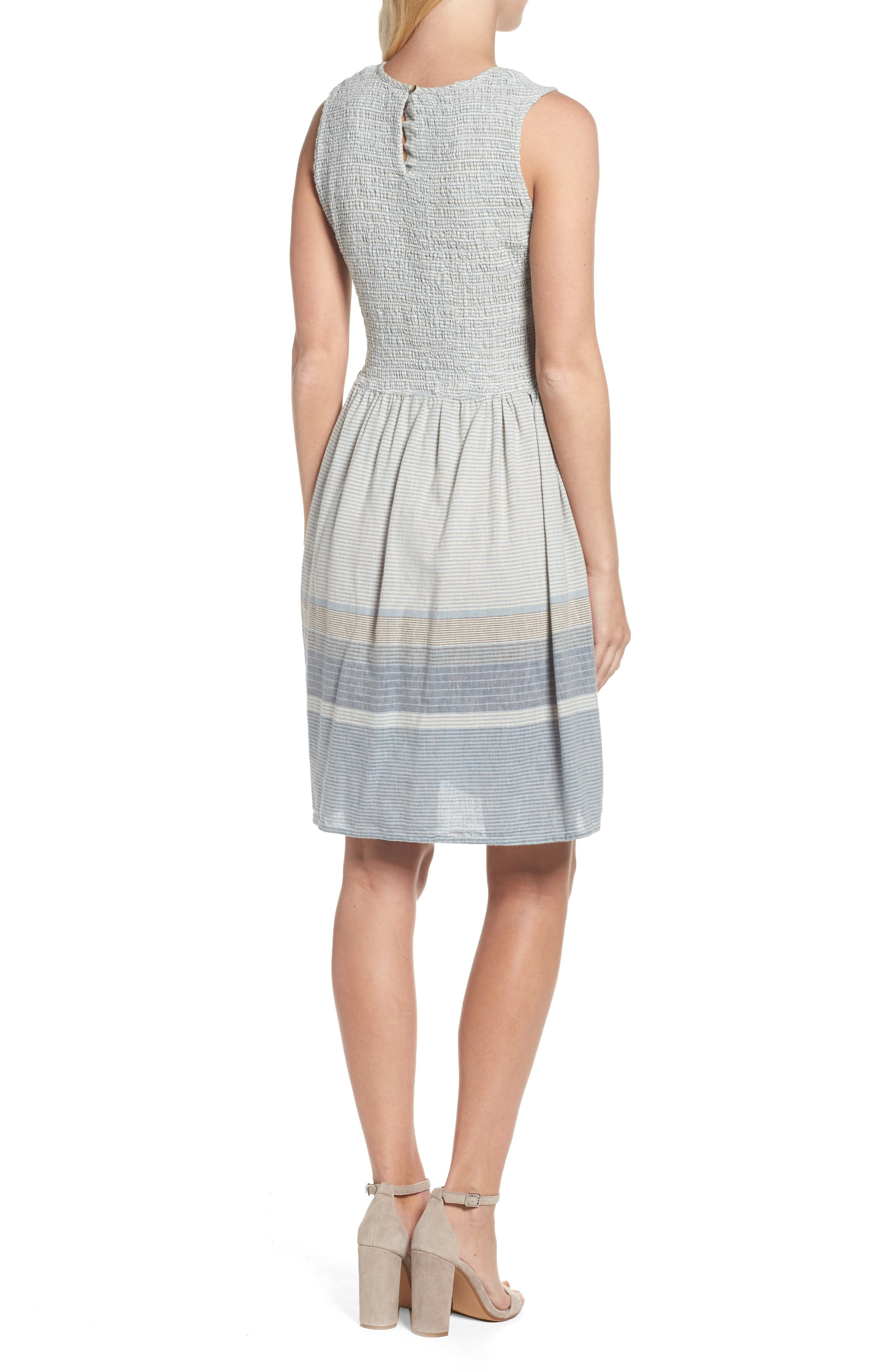 Serge Stripe Fit & Flare Dress,                             Alternate thumbnail 2, color,                             Indigo Wash