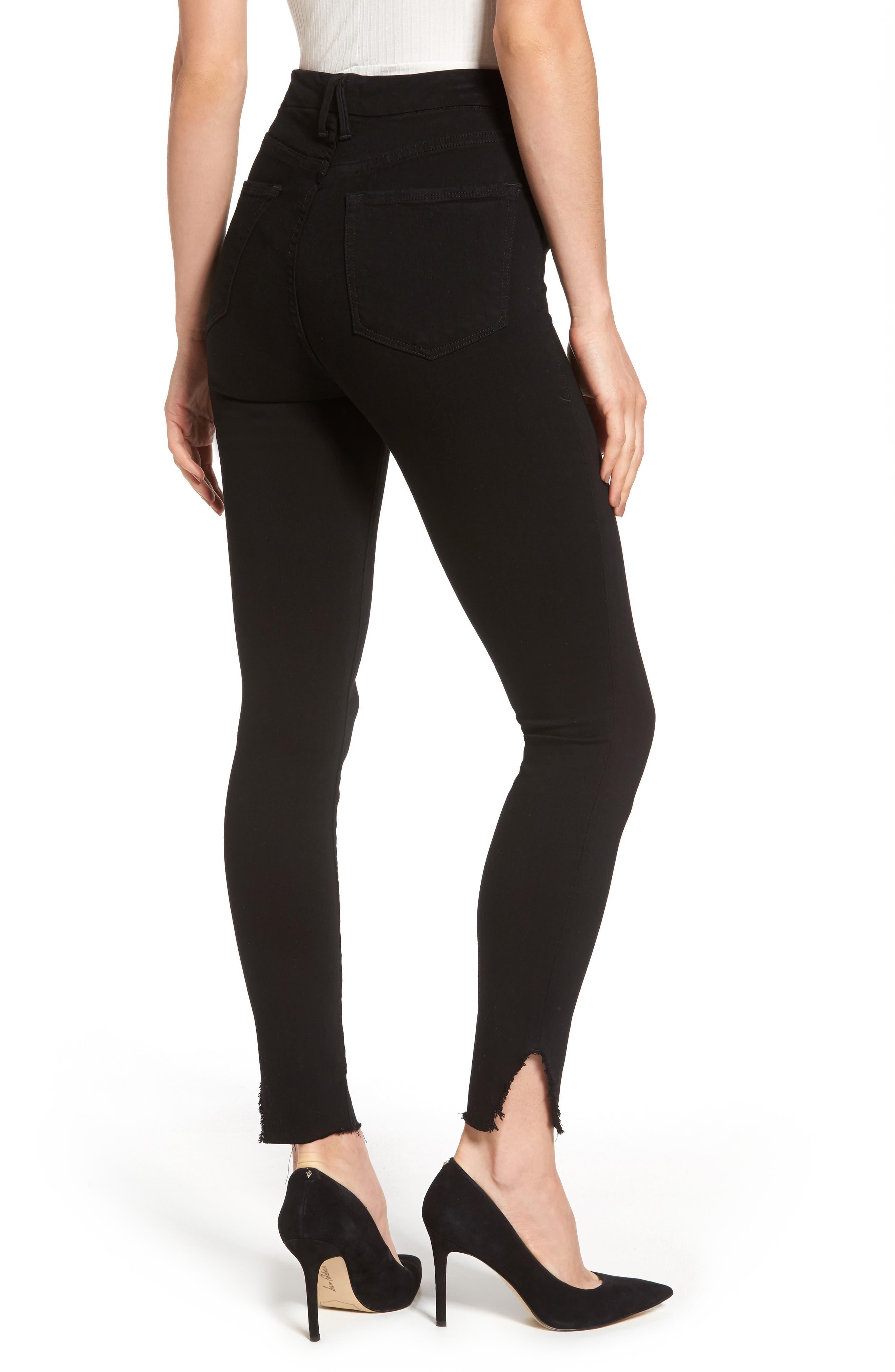 Good Waist Side Triangle Skinny Jeans,                             Alternate thumbnail 2, color,                             Black108