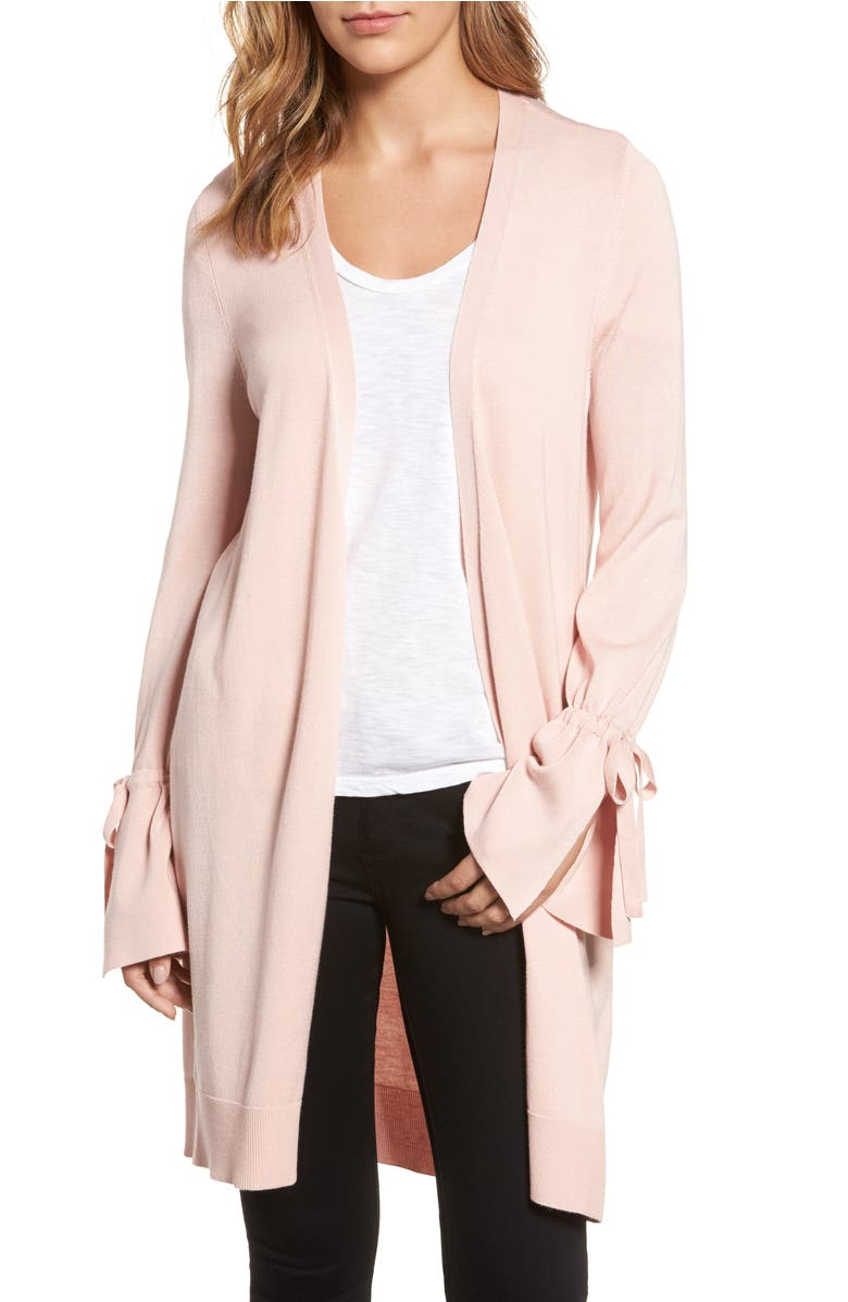 Lightweight Tie Sleeve Cardigan,                         Main,                         color, Pink Smoke