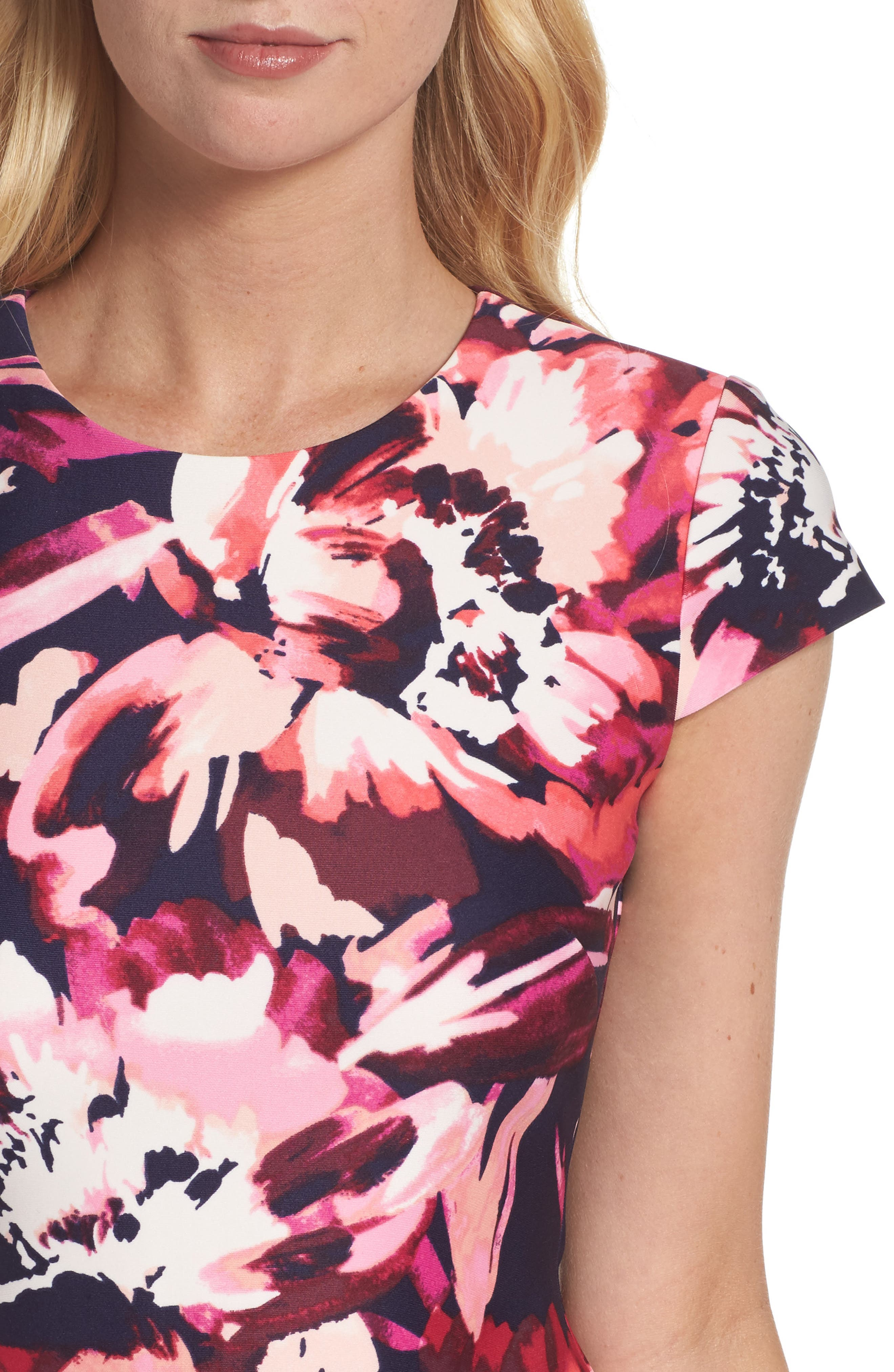 Cap Sleeve Sheath Dress,                             Alternate thumbnail 4, color,                             Pink Multi