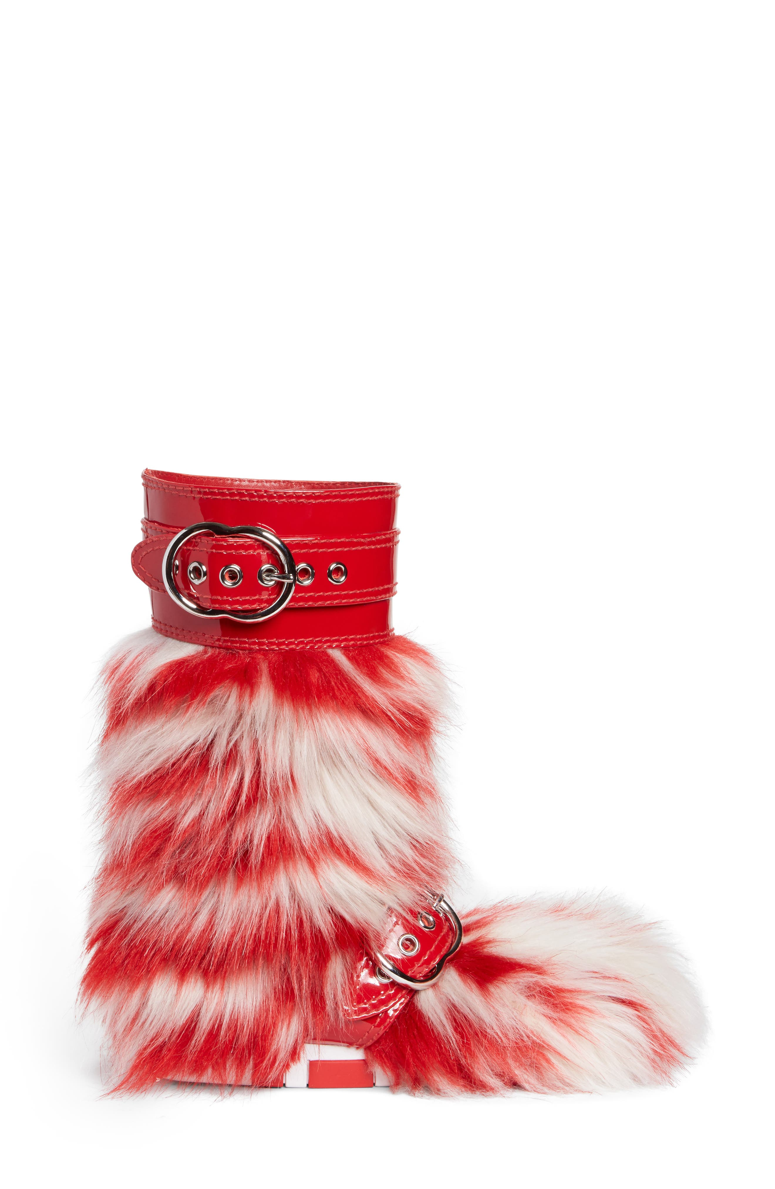 Faux Fur Boot,                             Alternate thumbnail 3, color,                             Red/ White