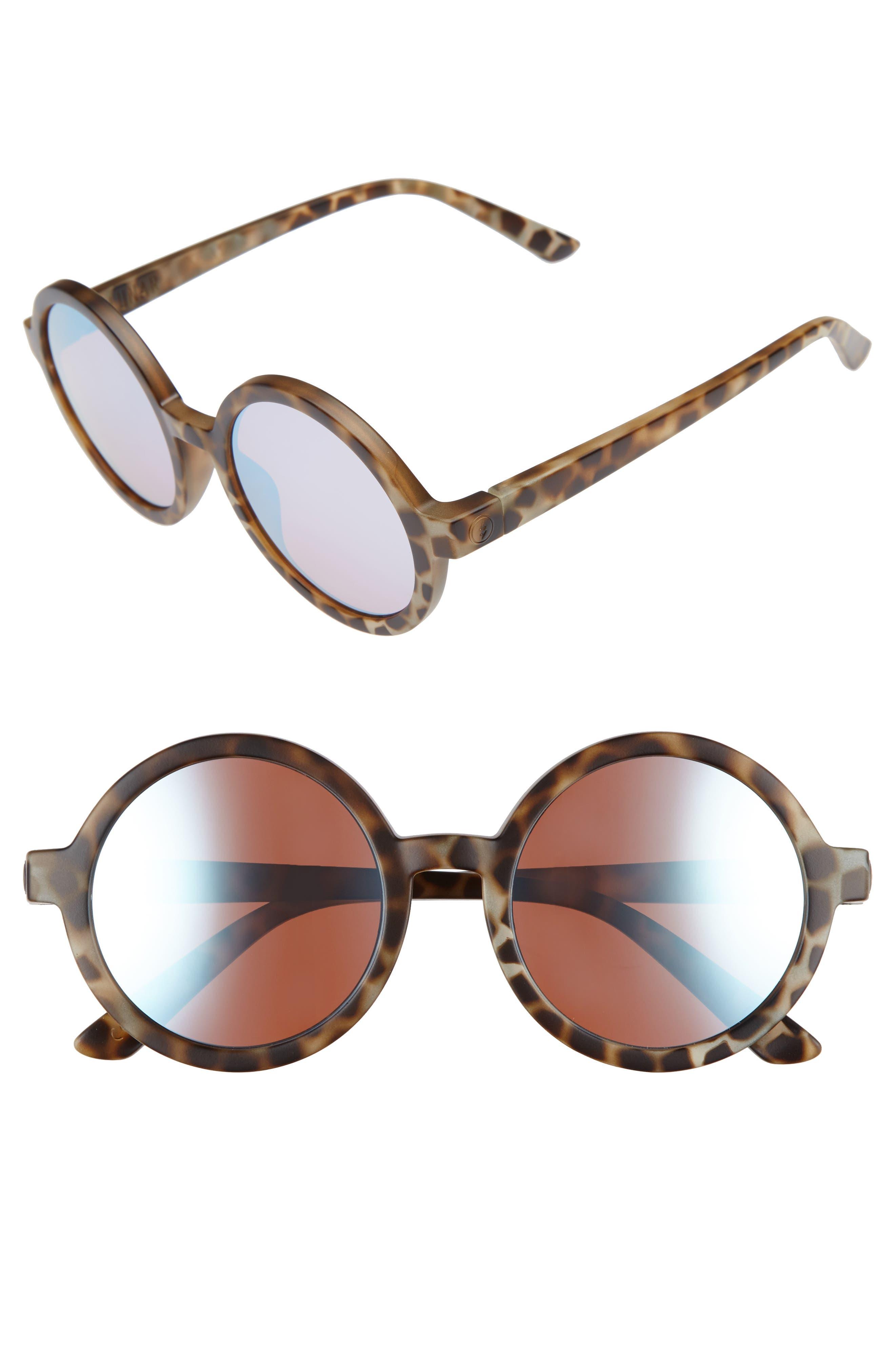 Lunar 52mm Round Sunglasses,                         Main,                         color, Nude Tortoise/ Sky Chrome