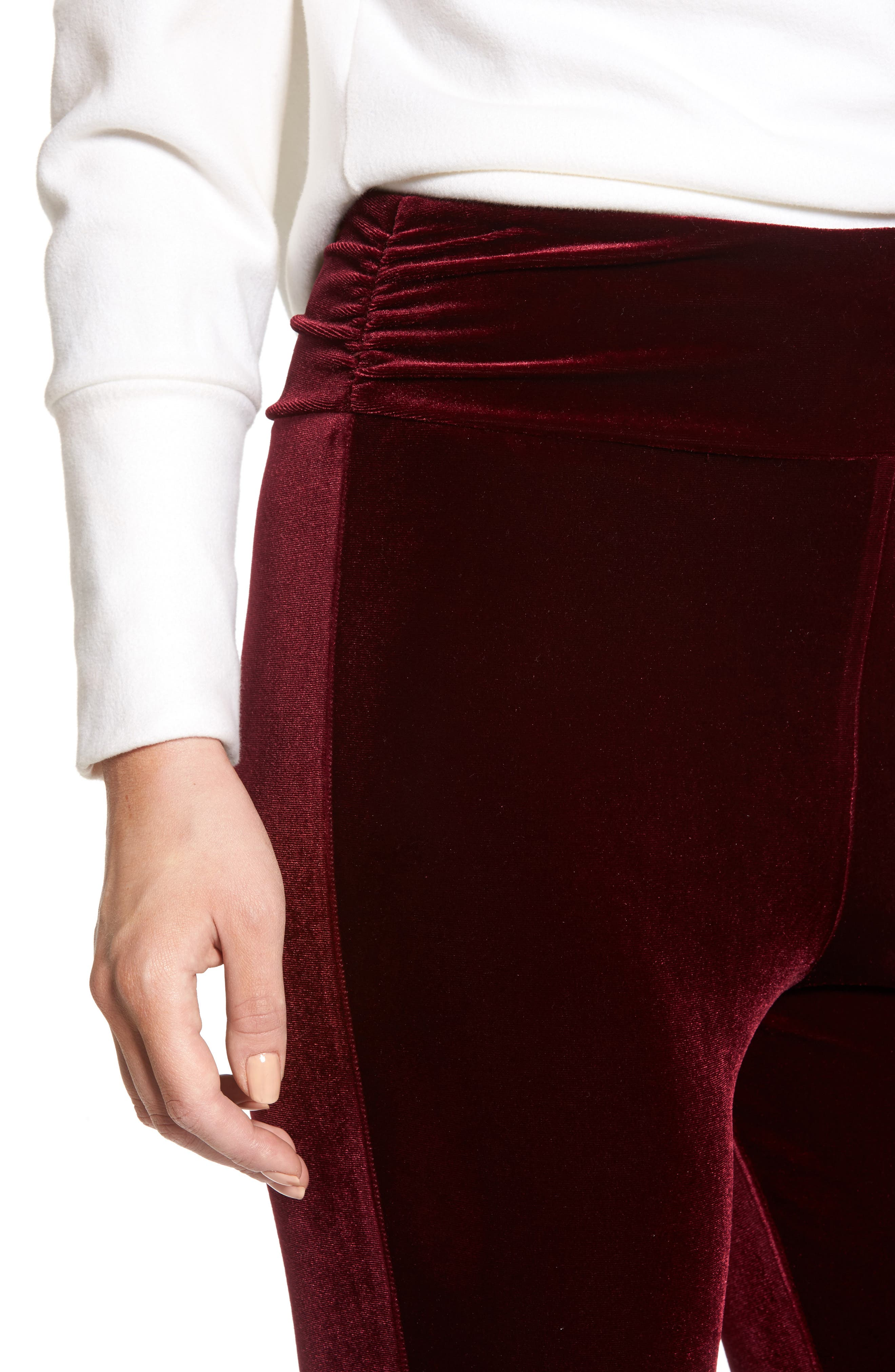 High Waist Velour Stirrup Pants,                             Alternate thumbnail 4, color,                             Red Tannin