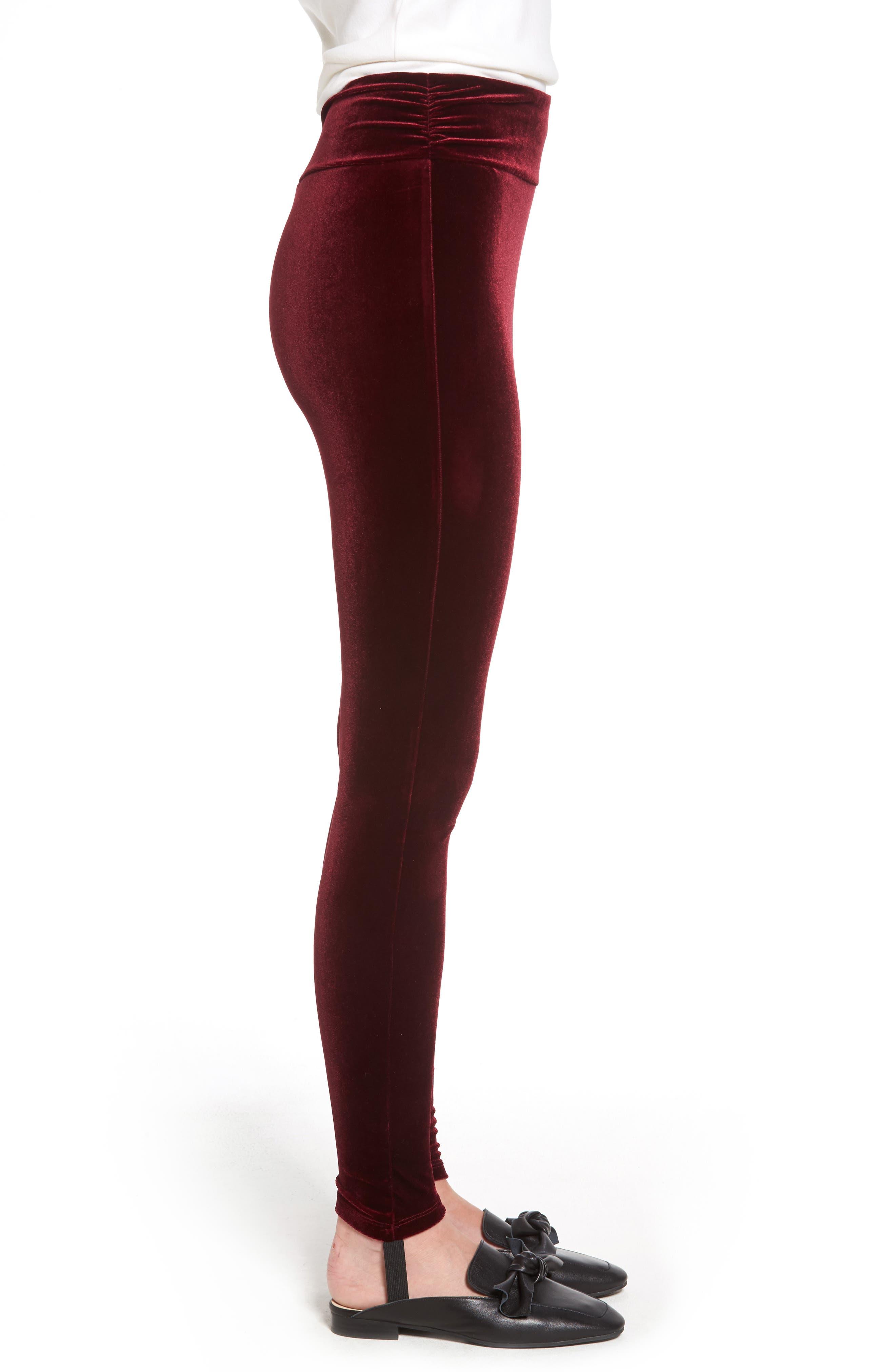High Waist Velour Stirrup Pants,                             Alternate thumbnail 3, color,                             Red Tannin