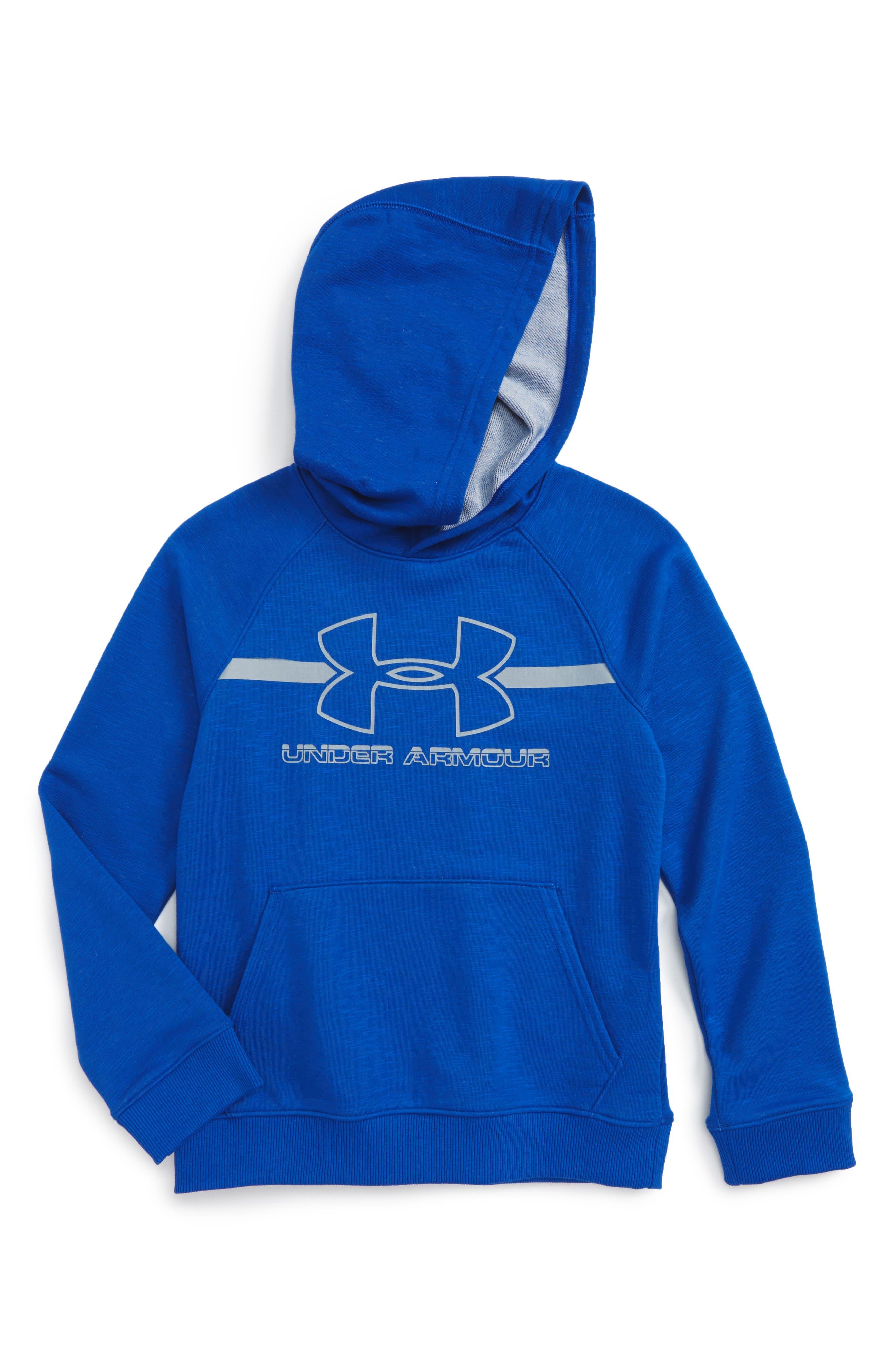 Main Image - Under Armour Logo Hooded Sweatshirt (Little Boys & Big Boys)