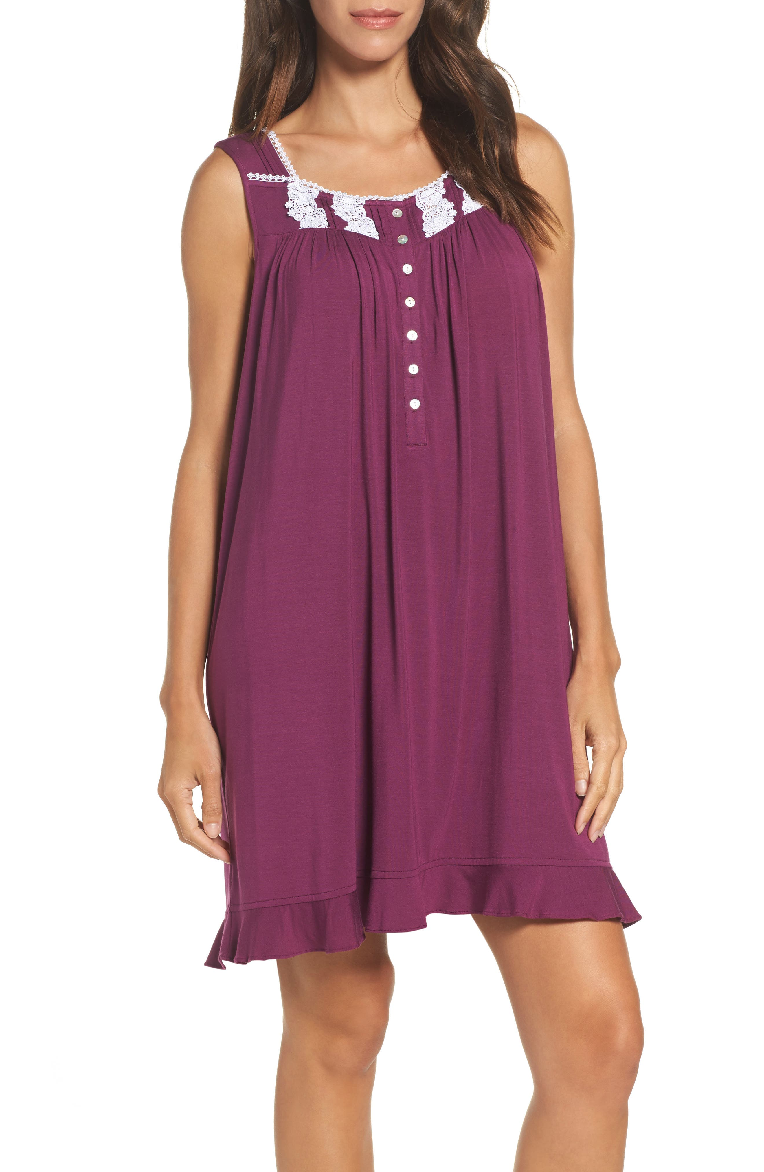 Knit Chemise,                         Main,                         color, Burgundy