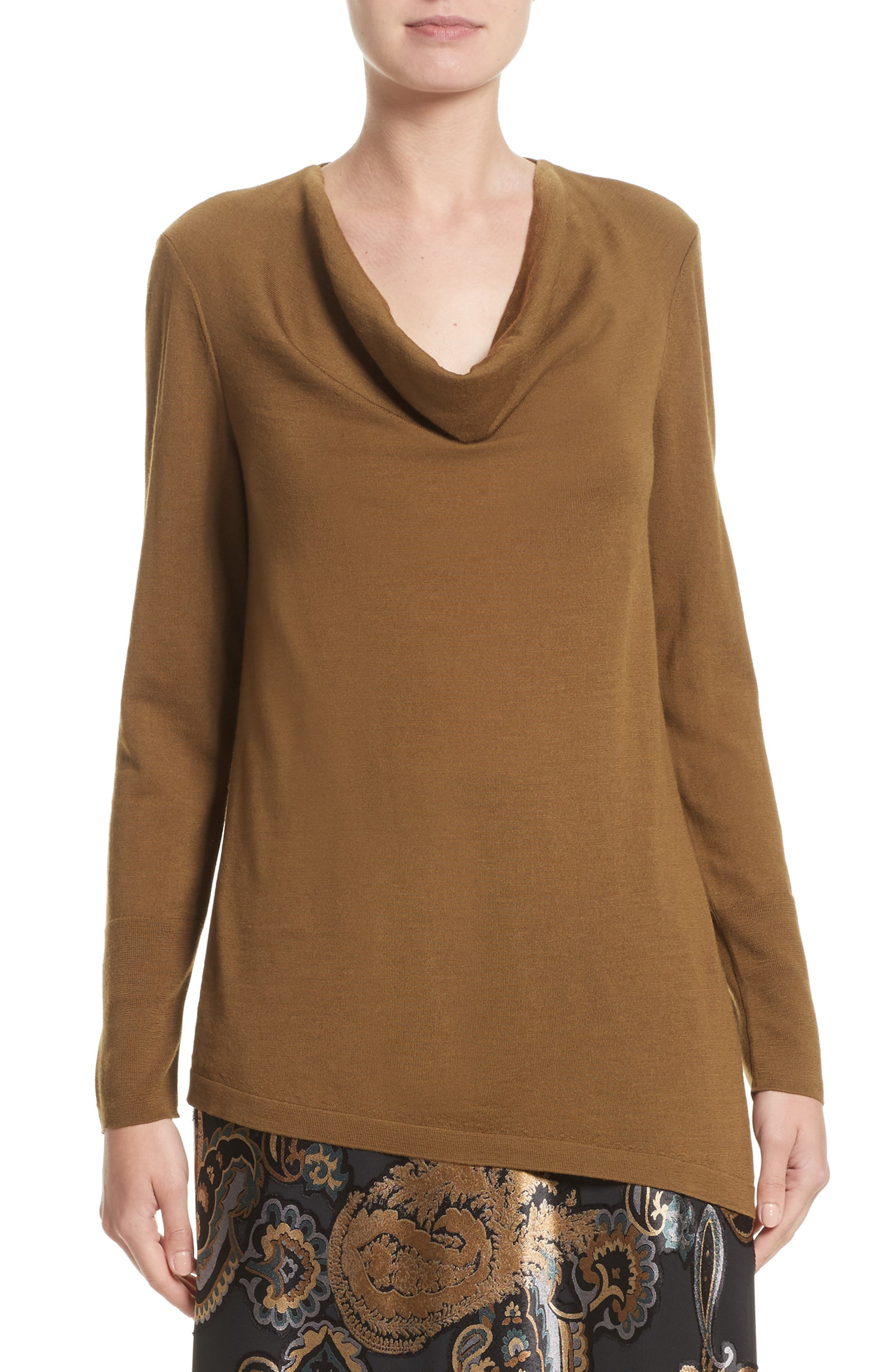 Lafayette 148 New York Asymmetrical Cowl Neck Sweater