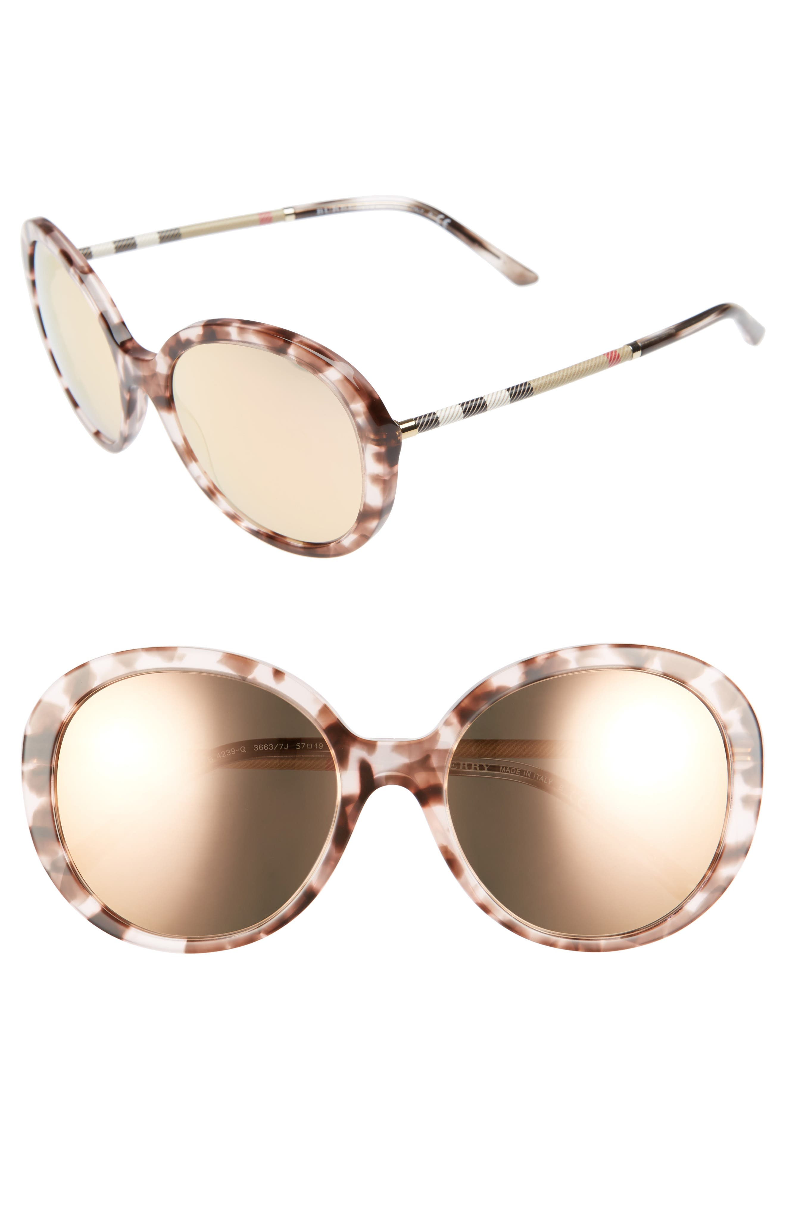Burberry 57mm Check Temple Mirrored Round Frame Sunglasses