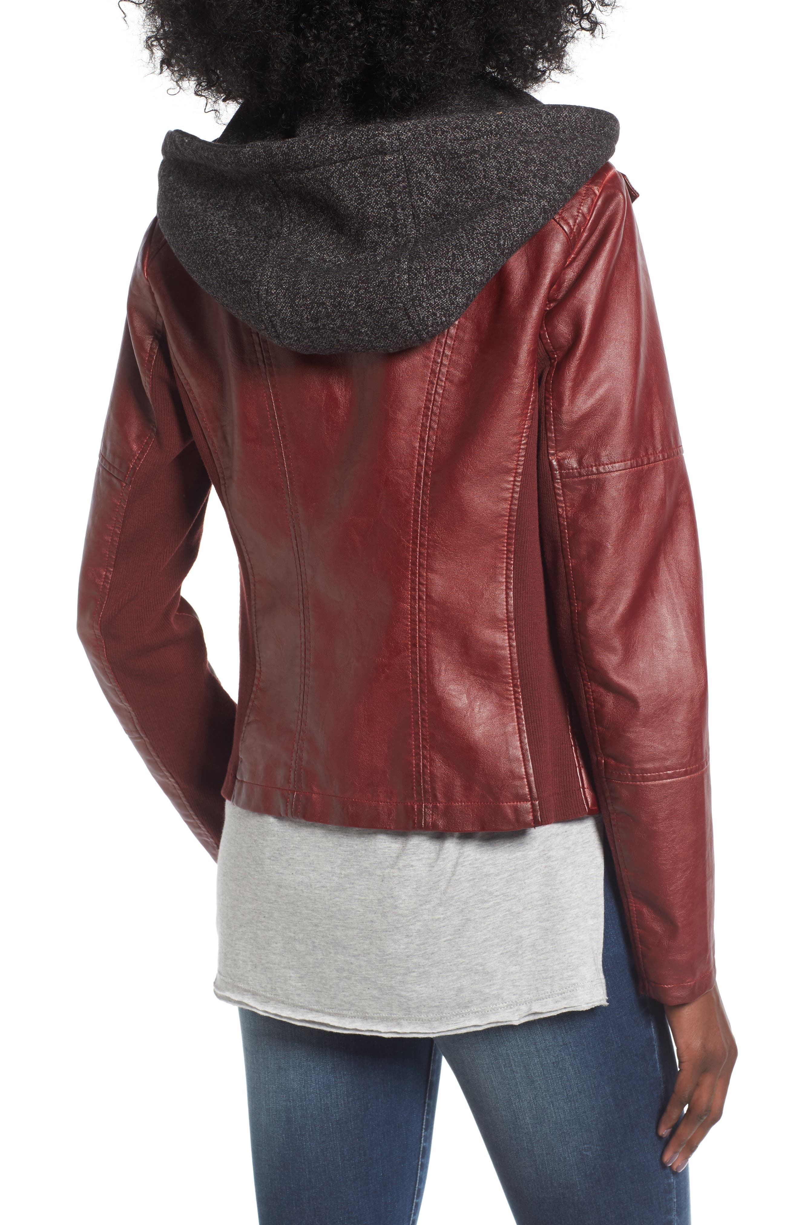 Alternate Image 2  - SEBBY Faux Leather Jacket with Detachable Jersey Hood