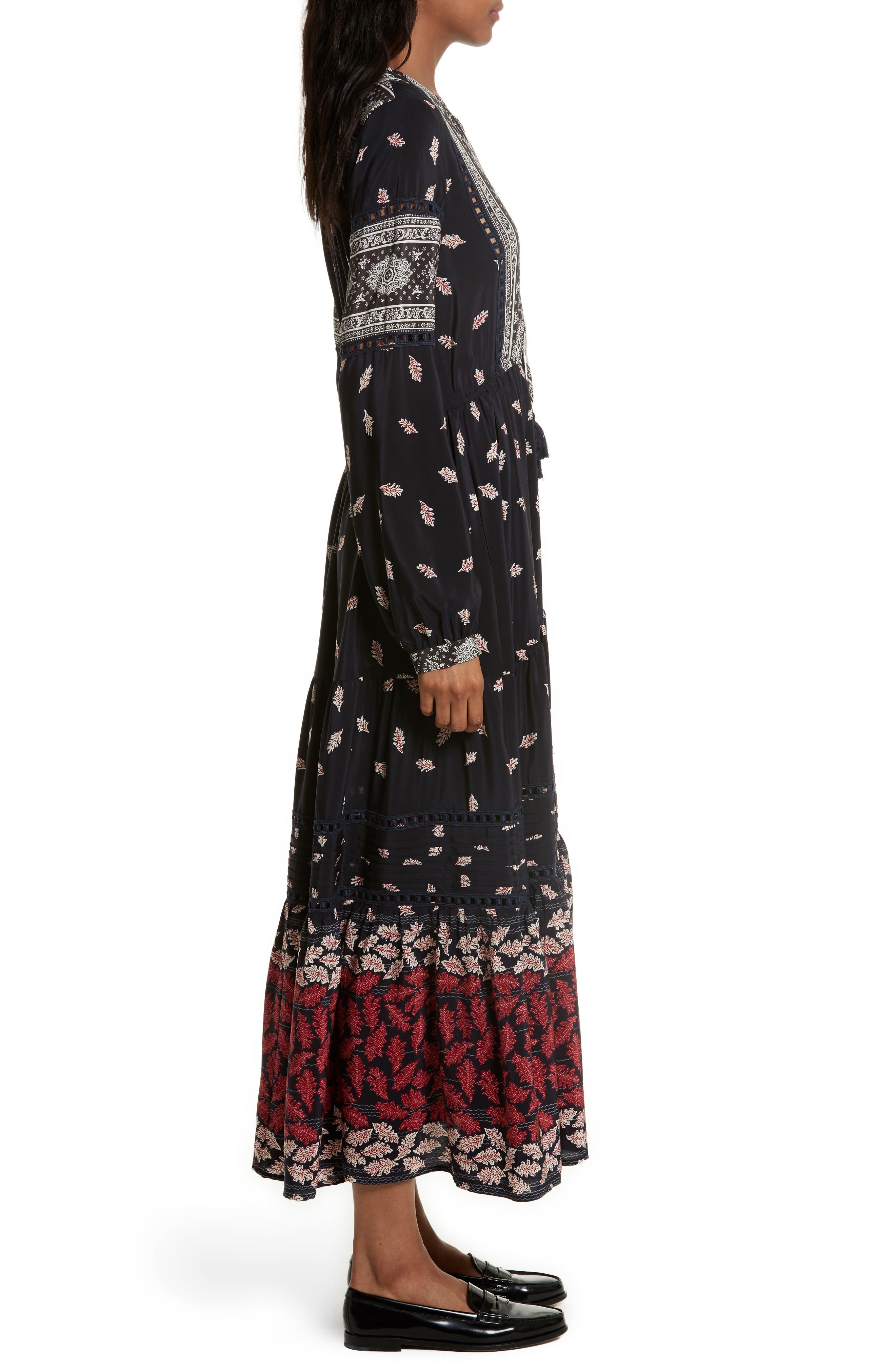 Eloise Print Silk Maxi Dress,                             Alternate thumbnail 3, color,                             Navy/ Red/ Cream Multi