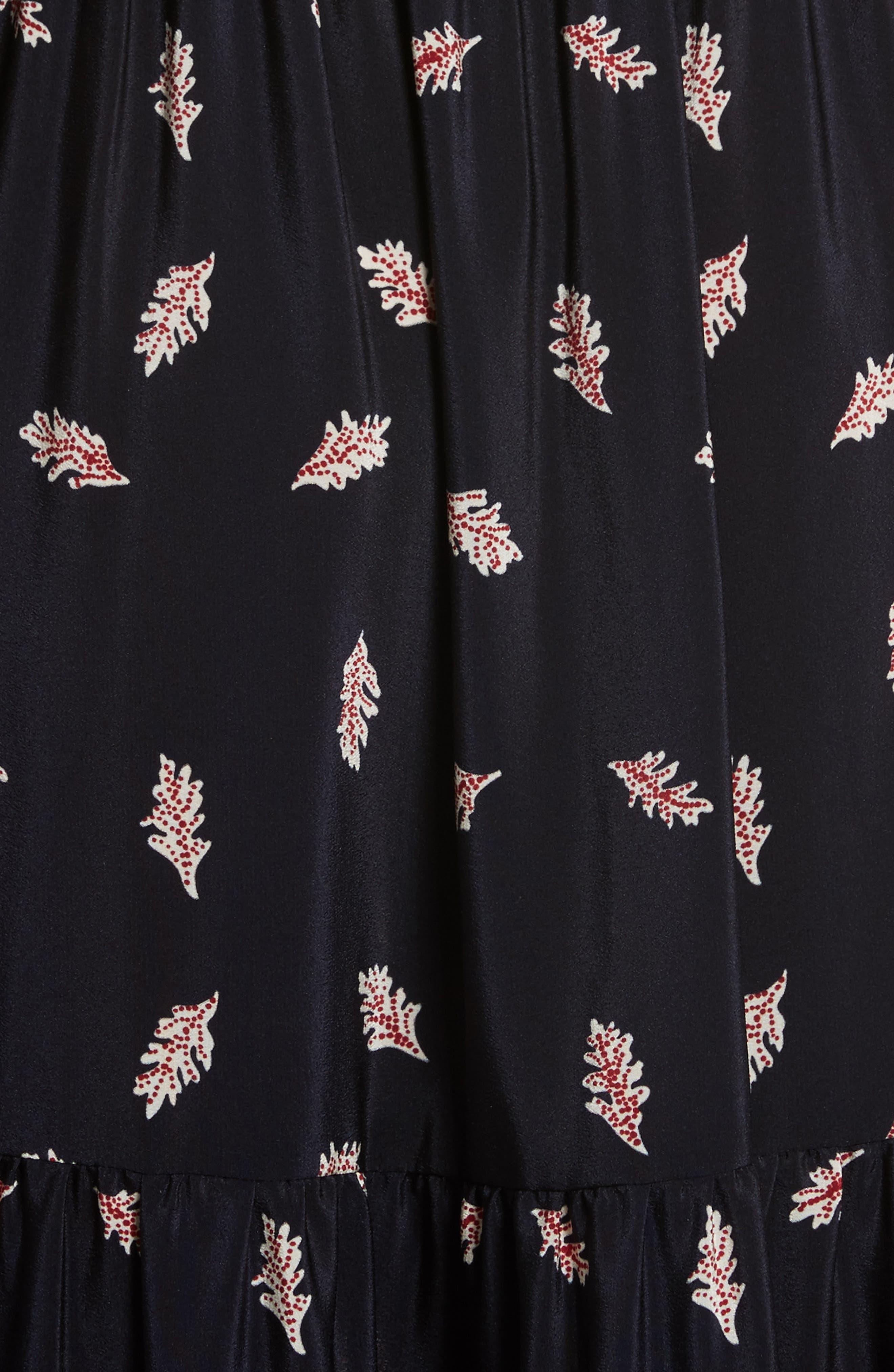 Eloise Print Silk Maxi Dress,                             Alternate thumbnail 5, color,                             Navy/ Red/ Cream Multi