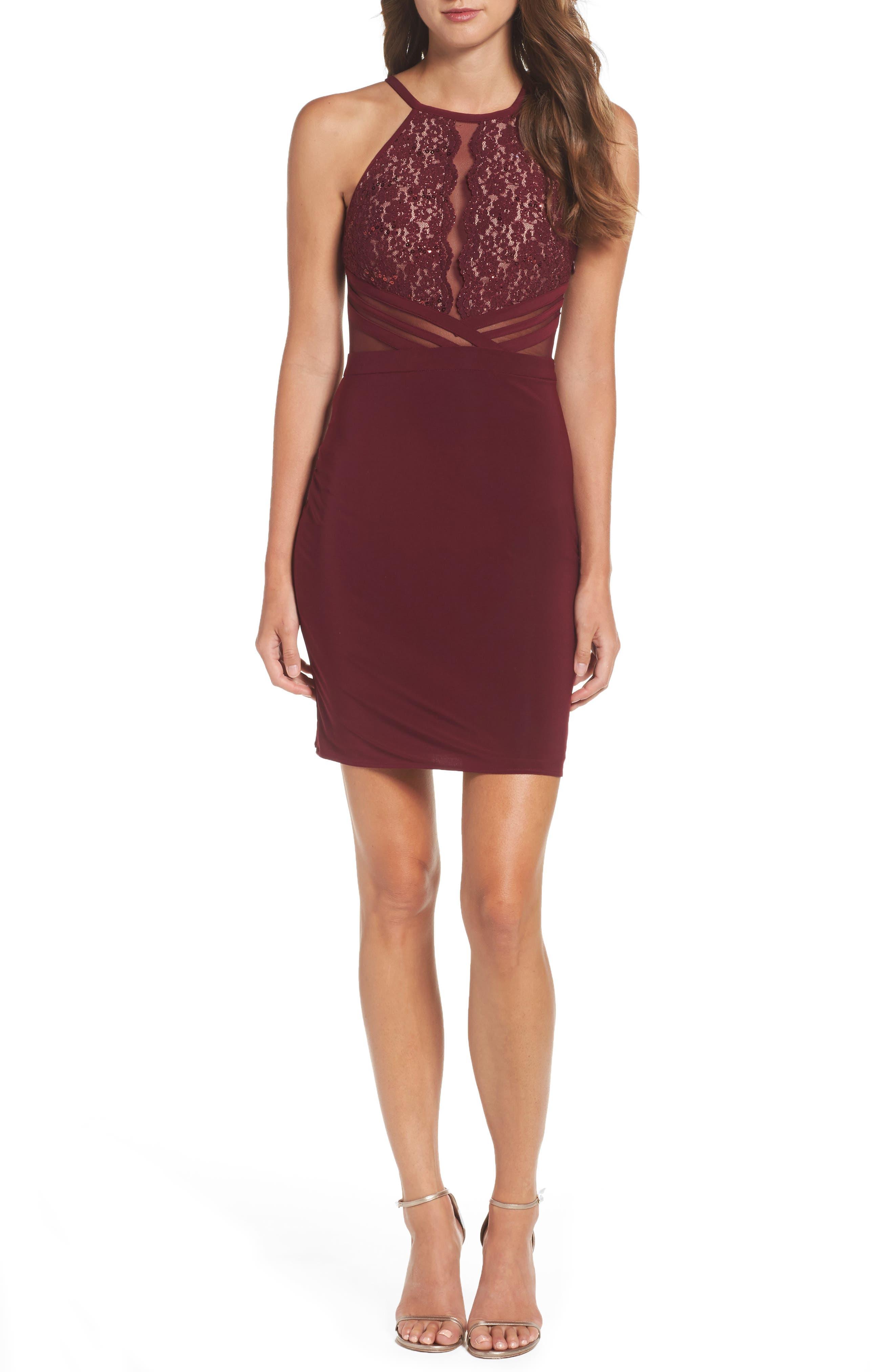 Alternate Image 1 Selected - Morgan & Co. Scallop Lace Bodice Body-Con Dress