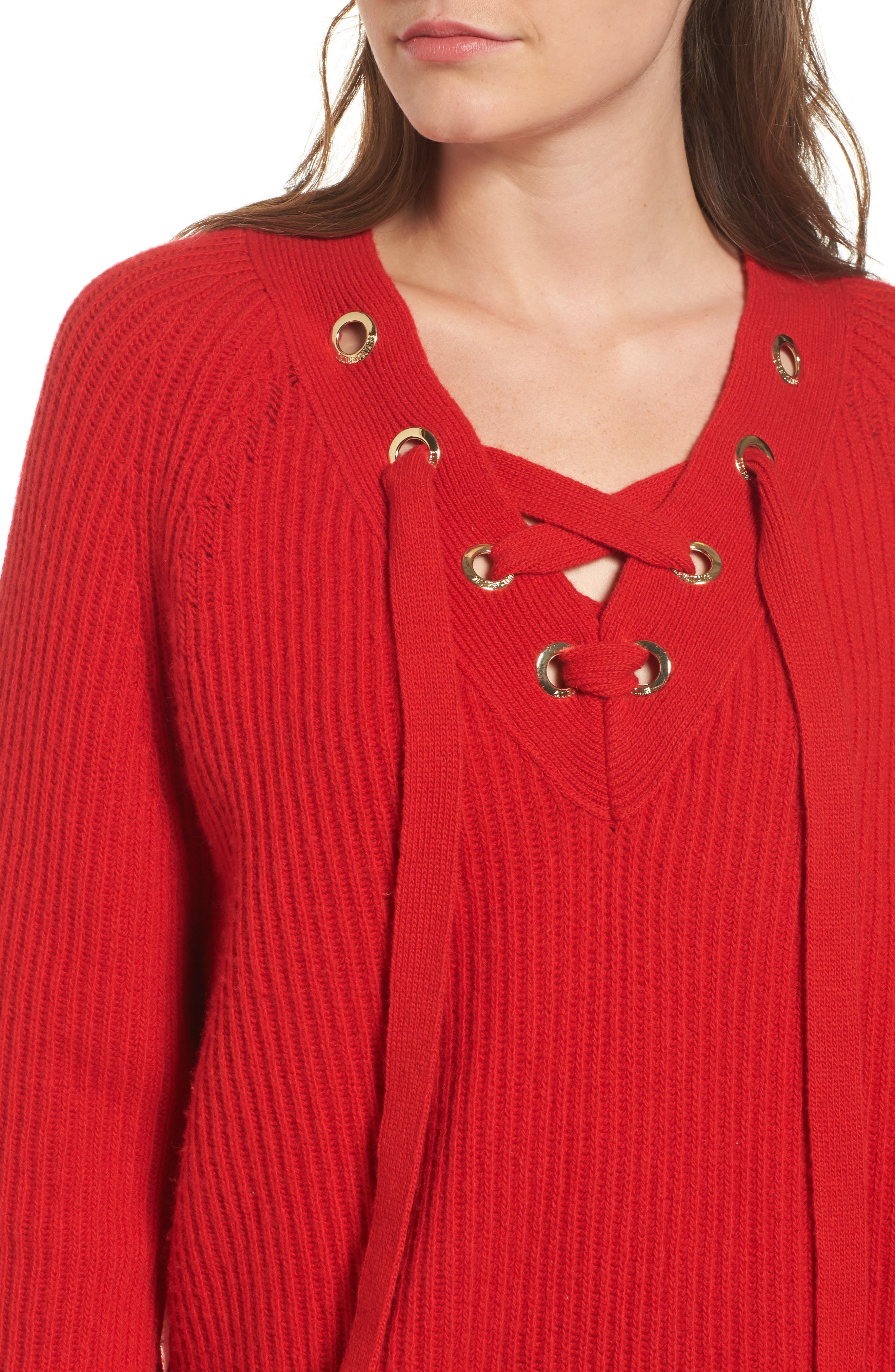Kassy Wool Blend Sweater,                             Alternate thumbnail 4, color,                             Rouge