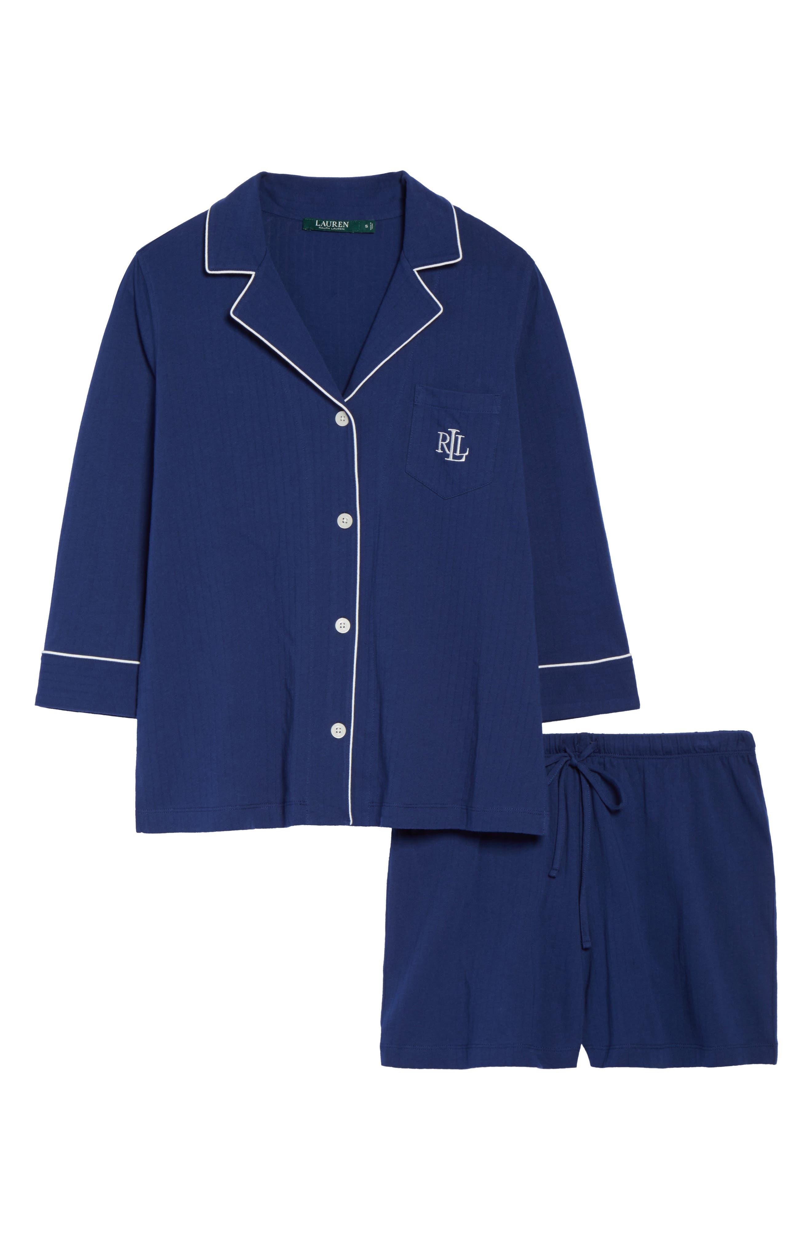 Notched Collar Pajamas,                             Alternate thumbnail 4, color,                             Navy