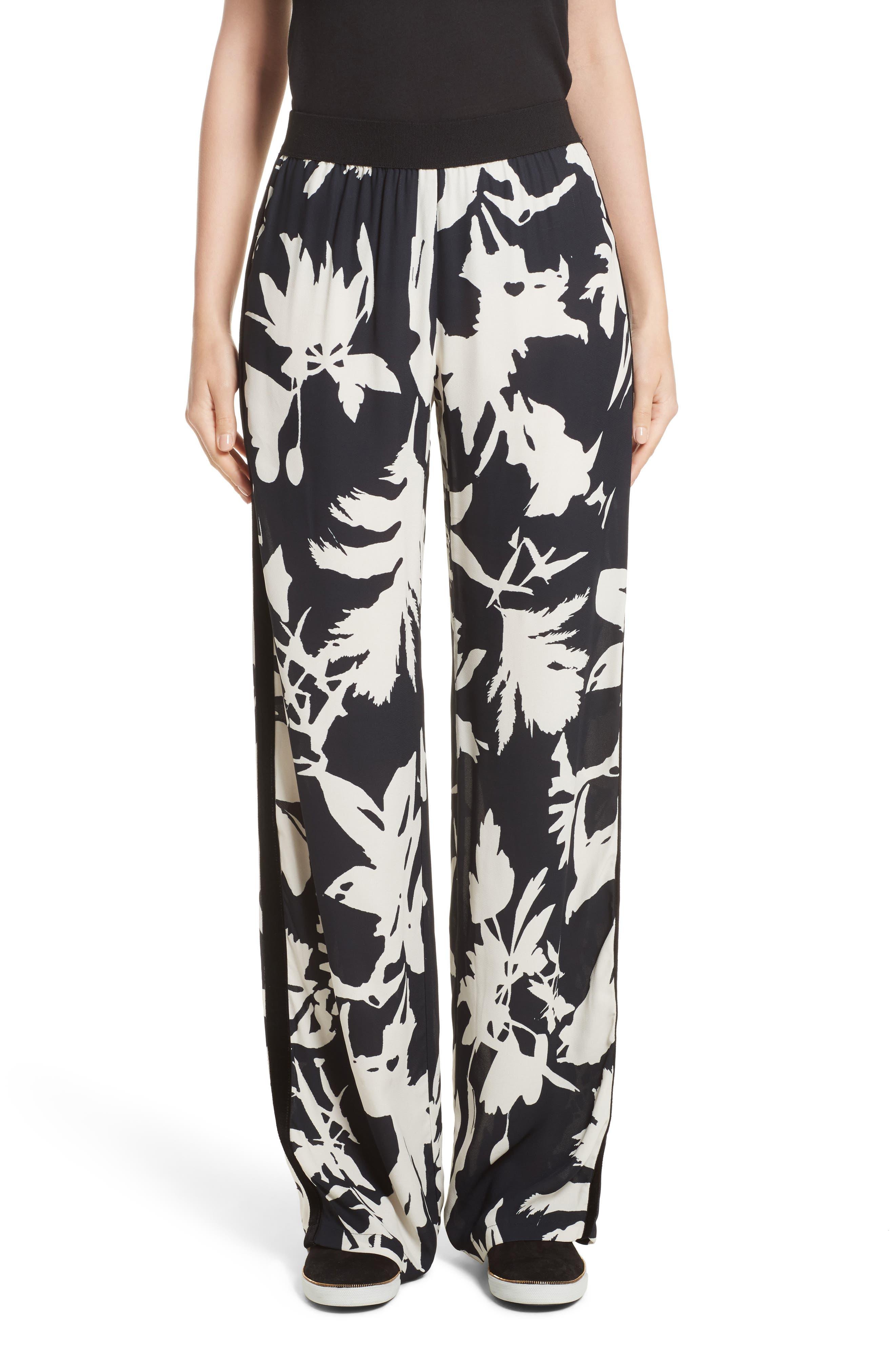 Floral Crepe Wide Leg Pants,                         Main,                         color, Black/ White