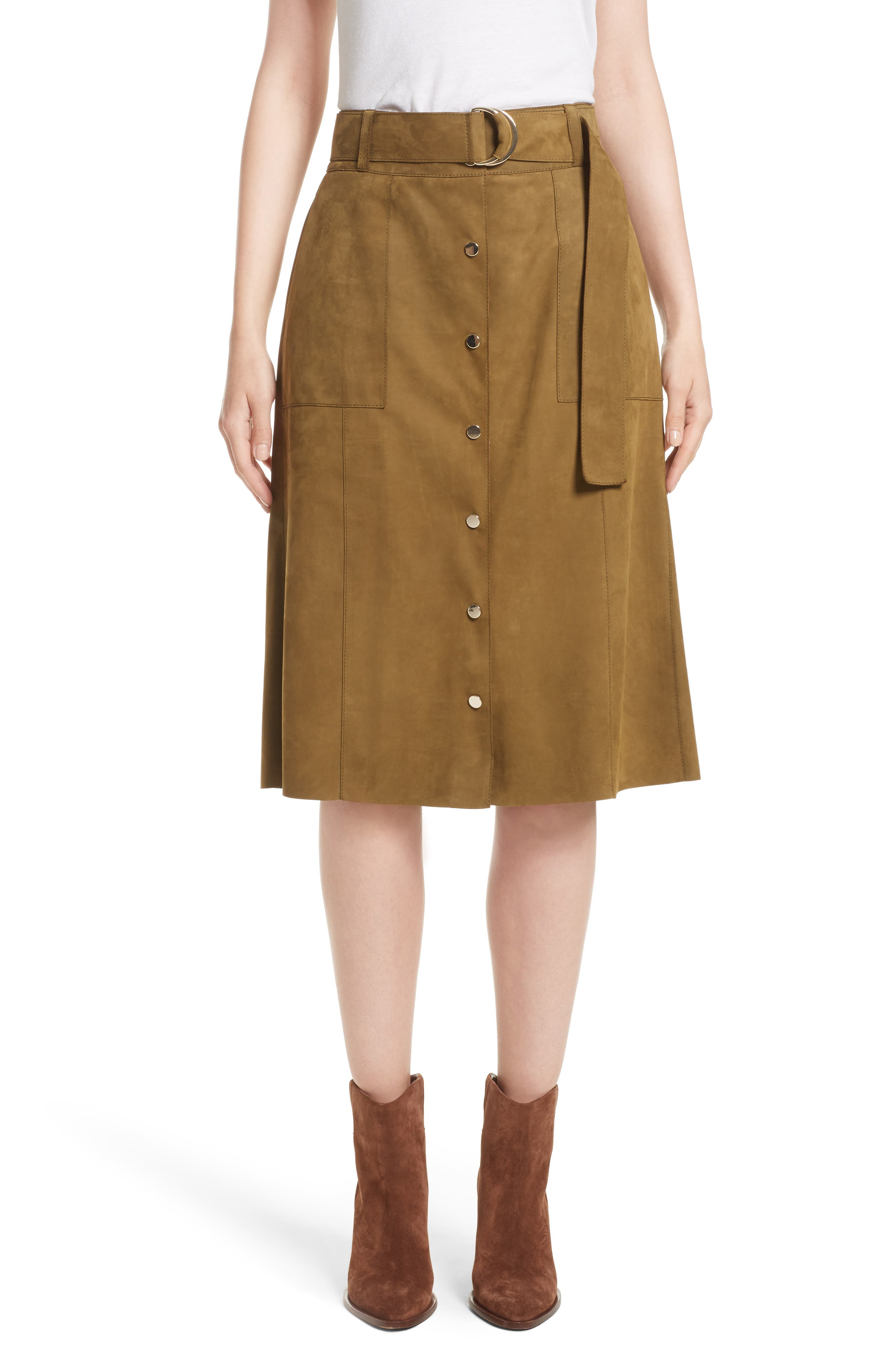 Orla Leather Skirt,                         Main,                         color, Kelp