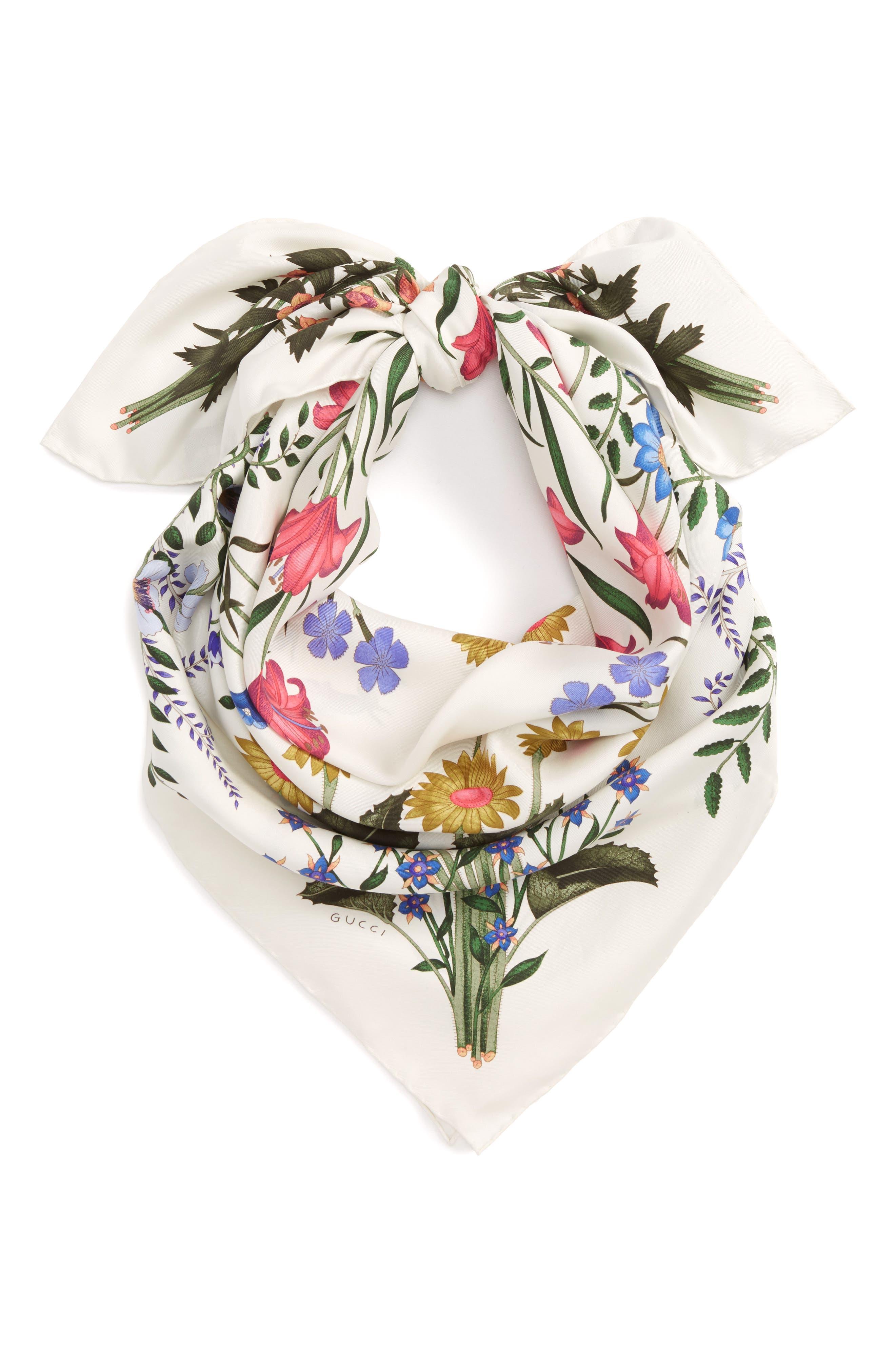 Alternate Image 2  - Gucci New Flora Silk Scarf