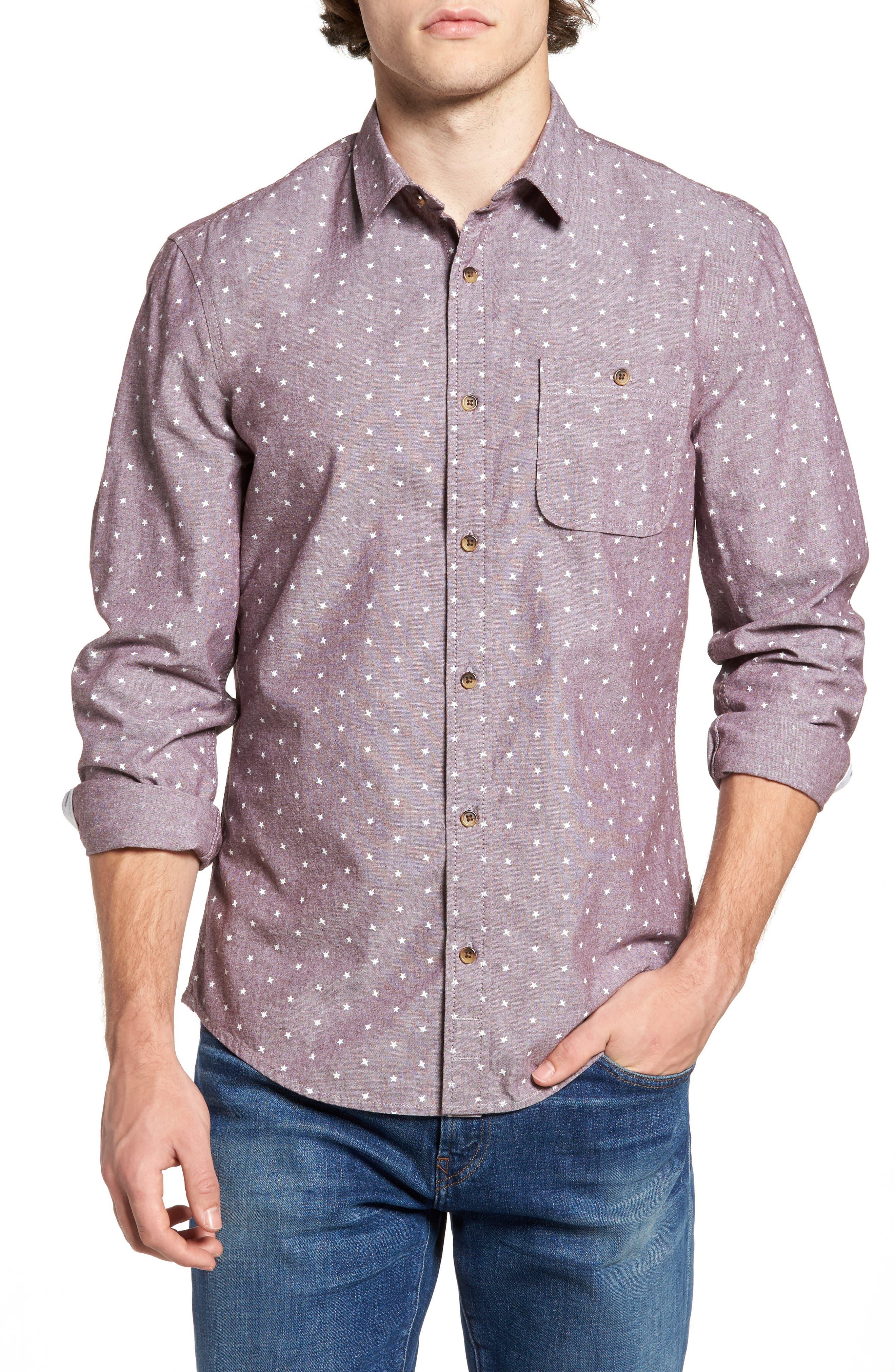 Star Chambray Shirt,                         Main,                         color, Burgundy Stem Stars Print