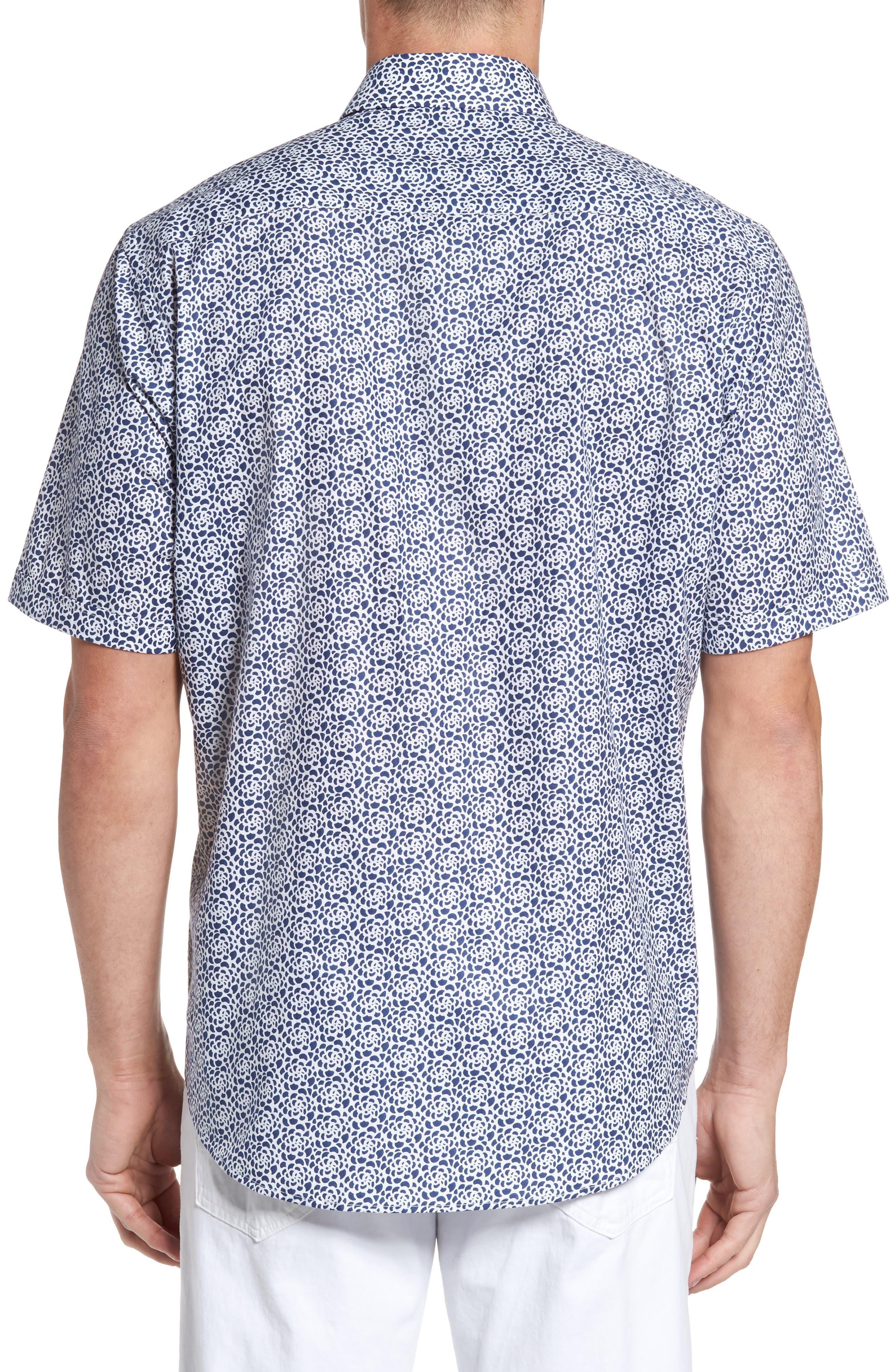 Classic Fit Print Short Sleeve Sport Shirt,                             Alternate thumbnail 2, color,                             Navy
