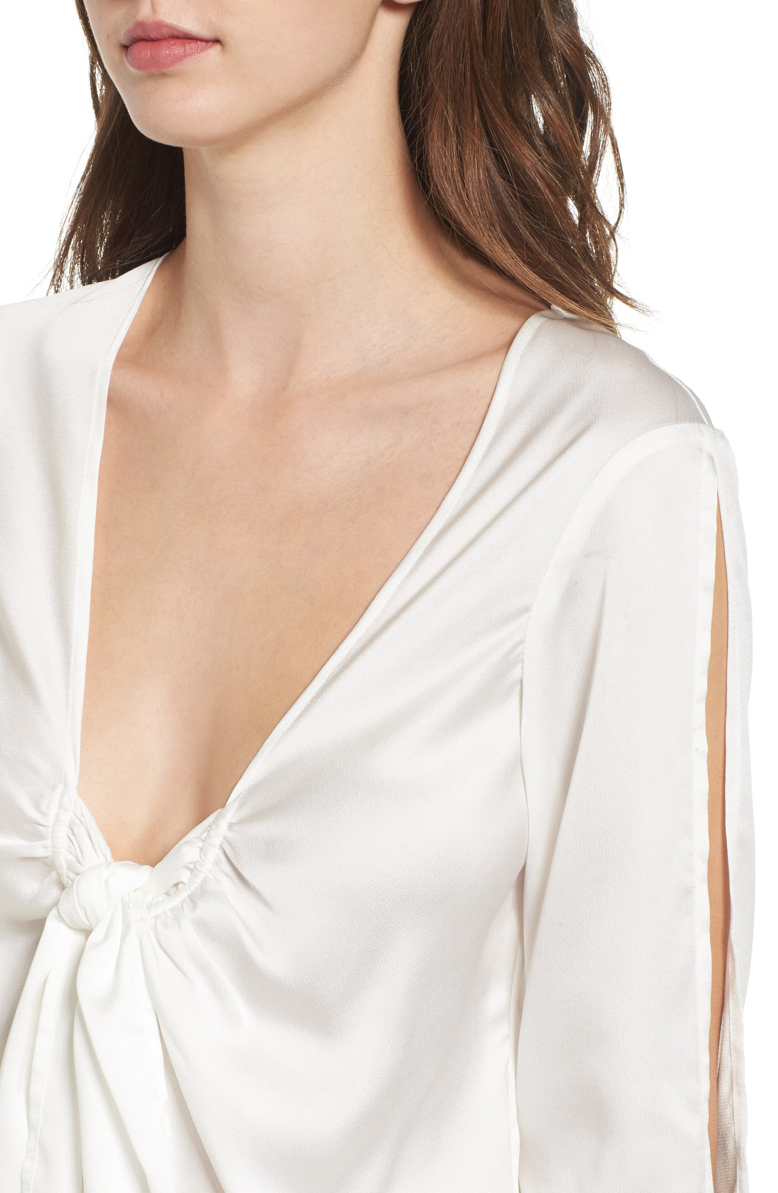 Knotted Hammered Satin Blouse,                             Alternate thumbnail 5, color,                             Ivory