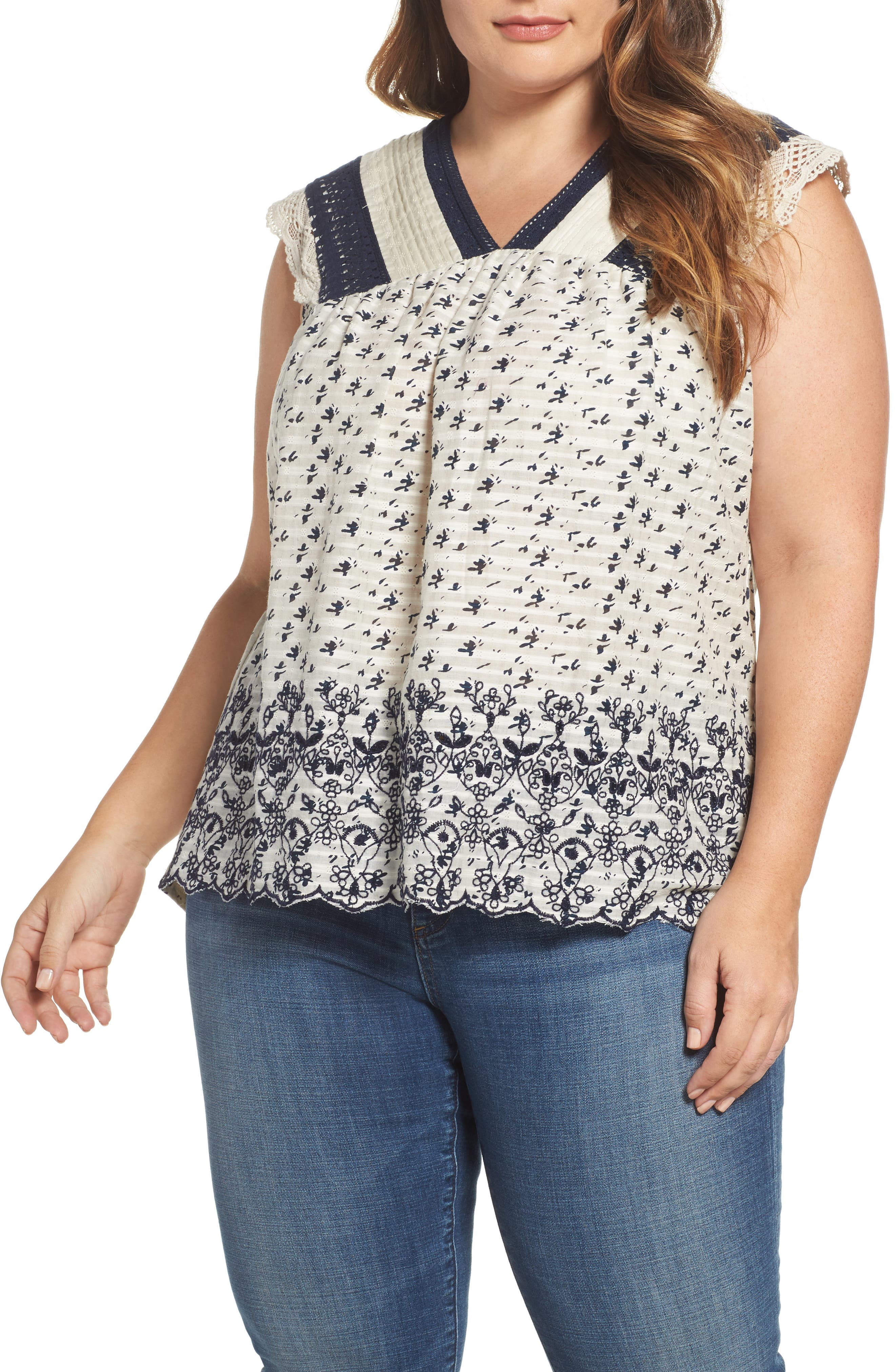 Main Image - Lucky Brand Embroidered Print Flutter Top (Plus Size)