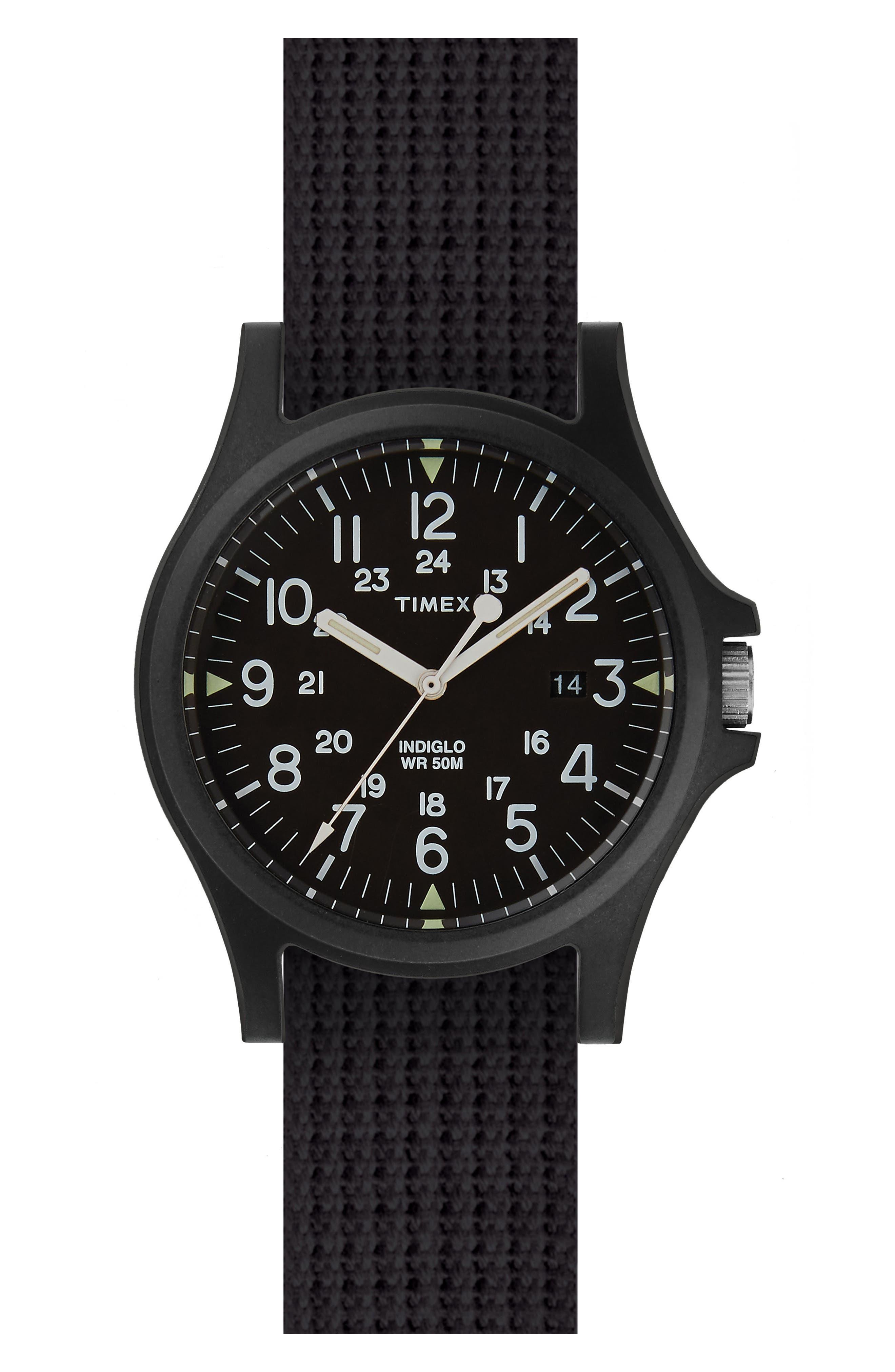 Acadia NATO Strap Watch, 40mm,                         Main,                         color, Black/ Black