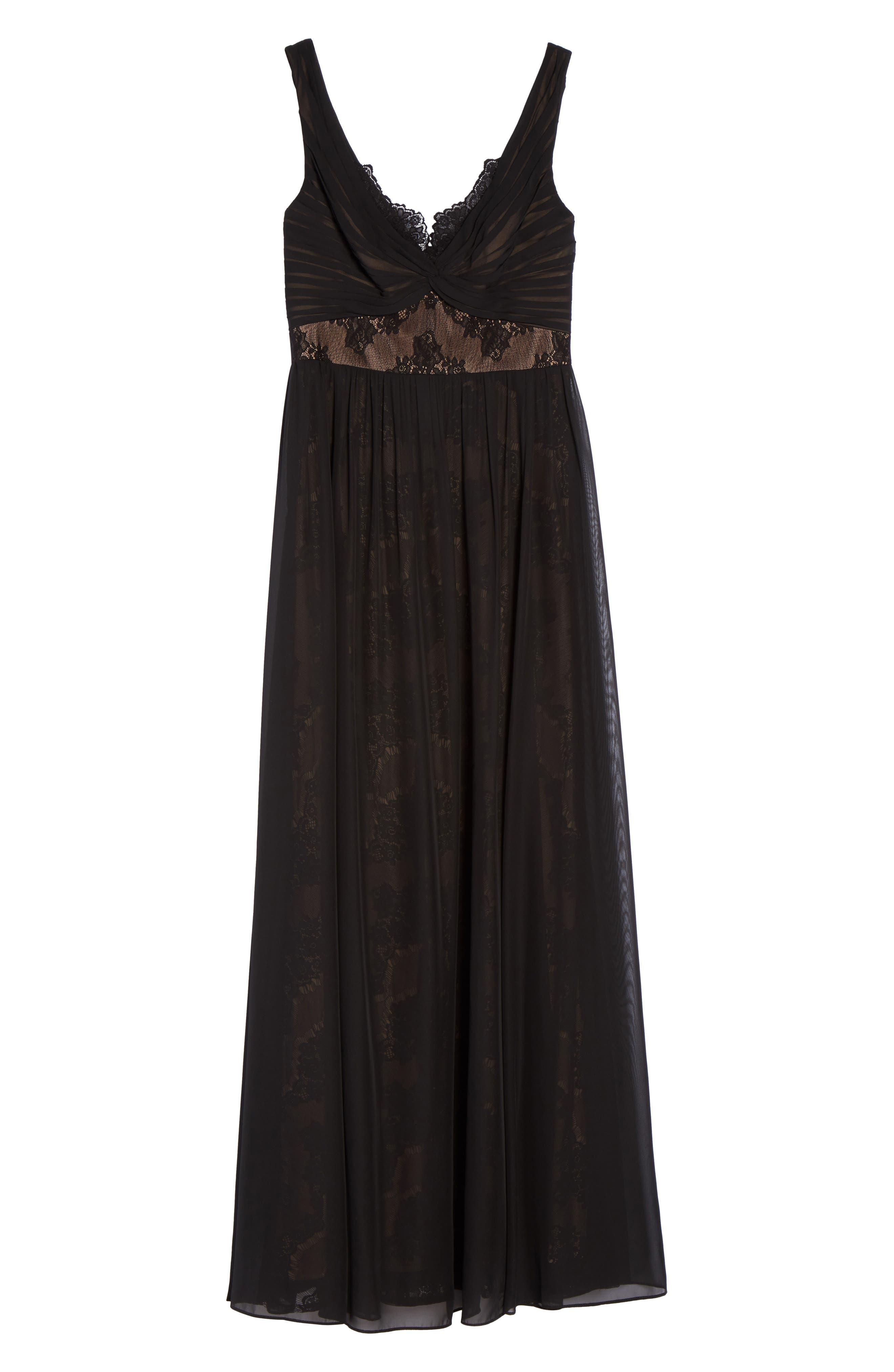 Lace Detail Gown,                             Alternate thumbnail 6, color,                             Black Nude