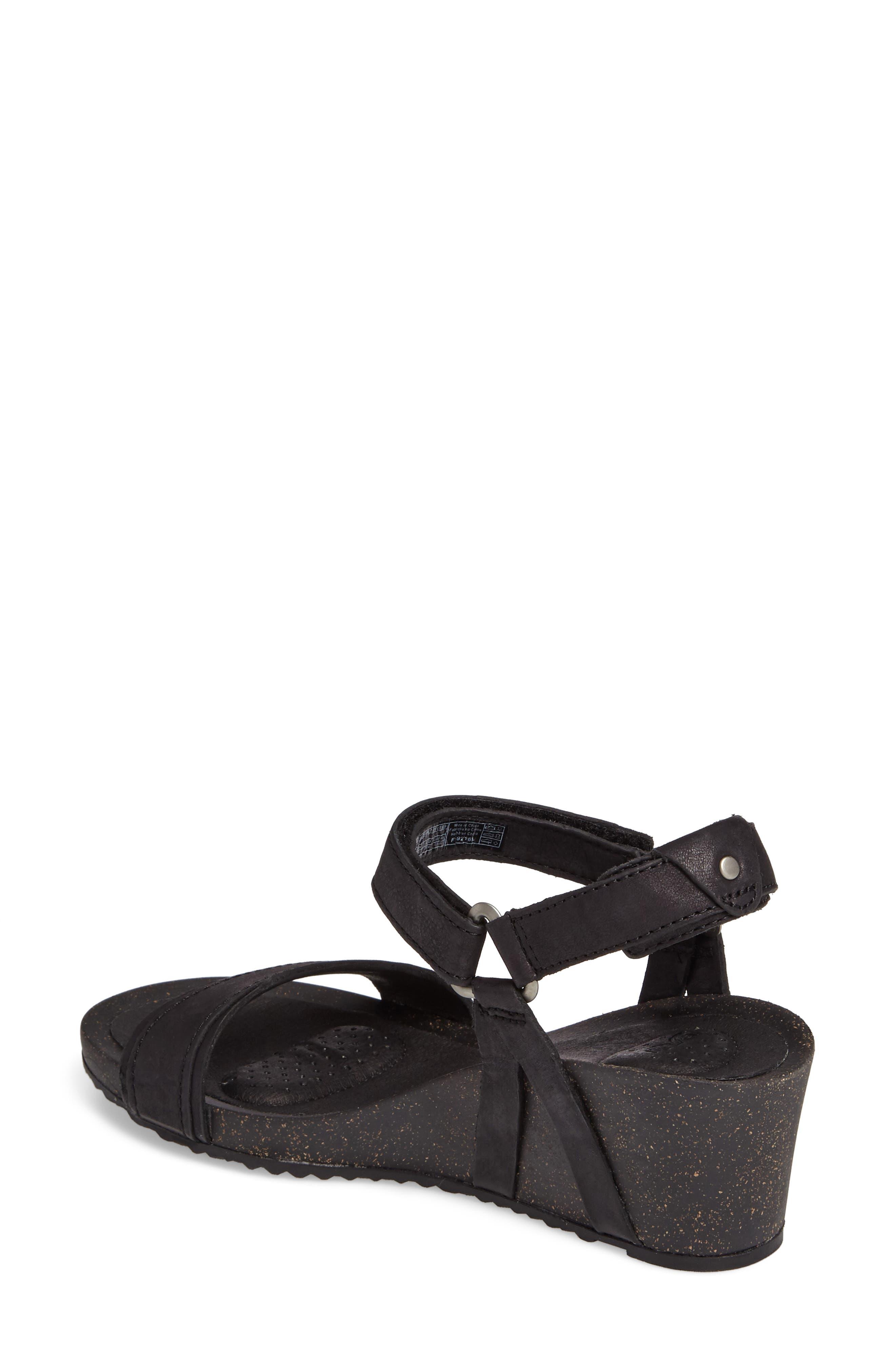 Ysidro Stitch Wedge Sandal,                             Alternate thumbnail 2, color,                             Black Leather