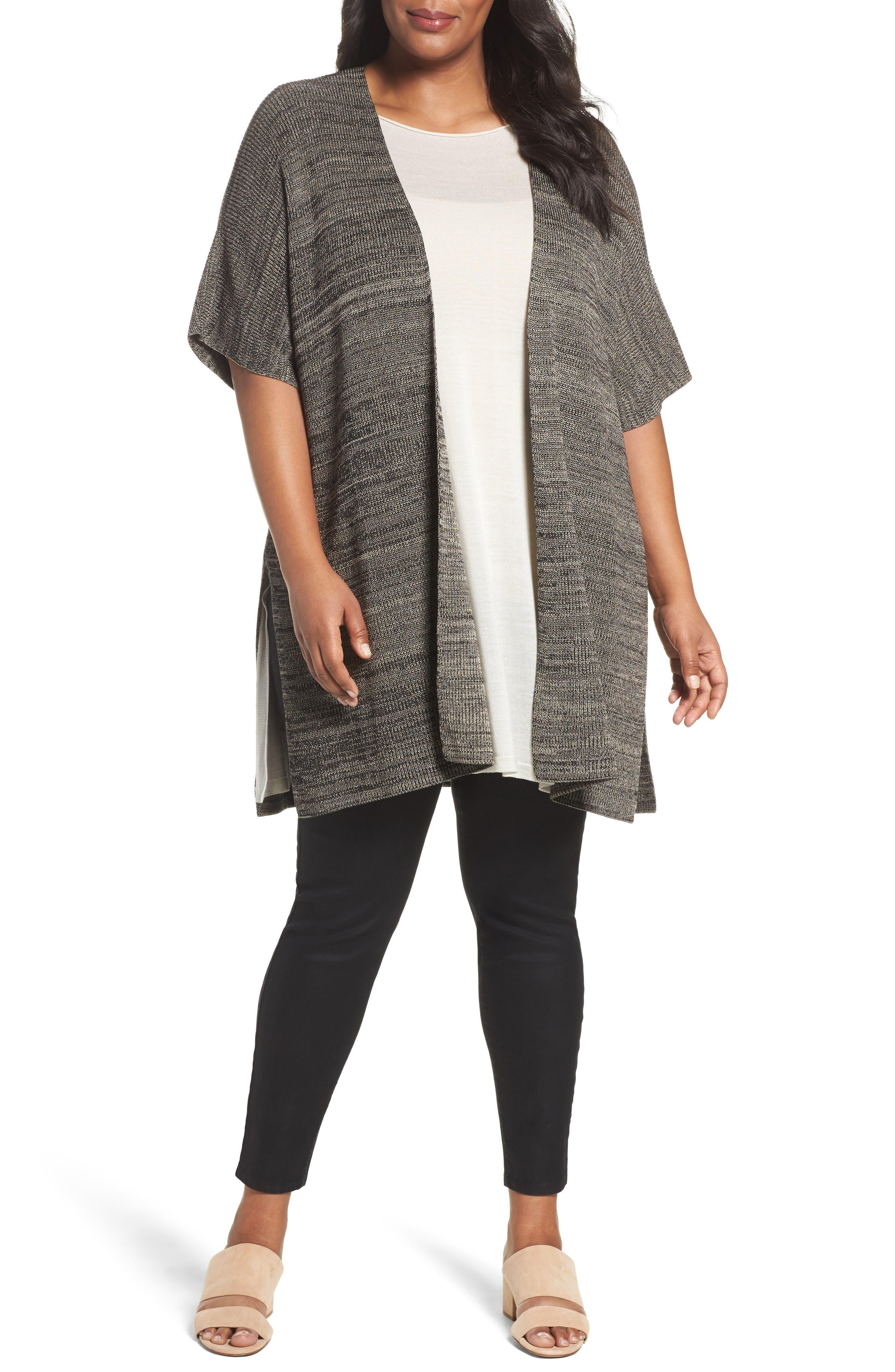 Tencel<sup>®</sup> Knit Kimono Cardigan,                         Main,                         color, Black Natural